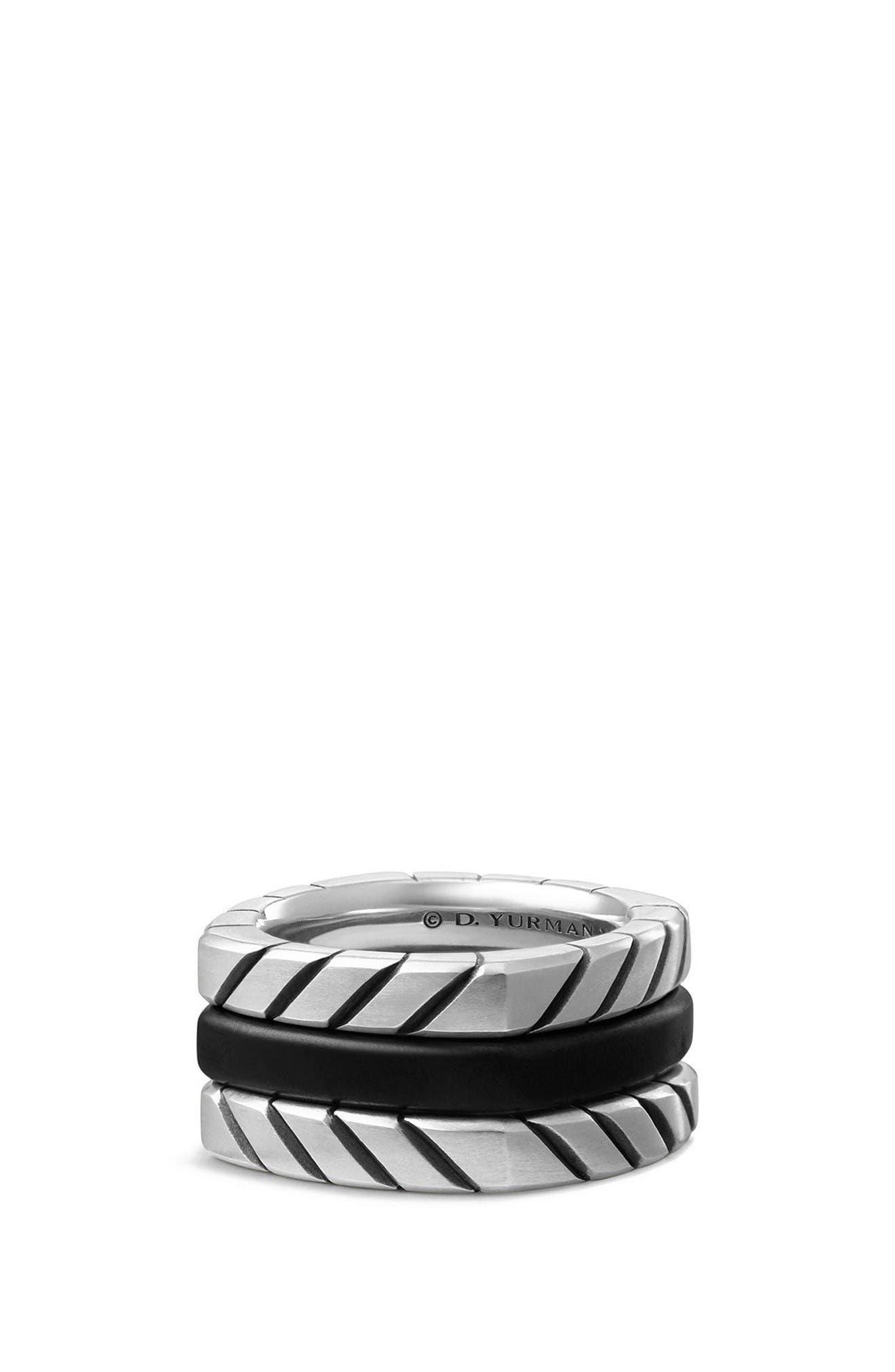 Chevron Stack Ring,                         Main,                         color, Silver/ Titanium
