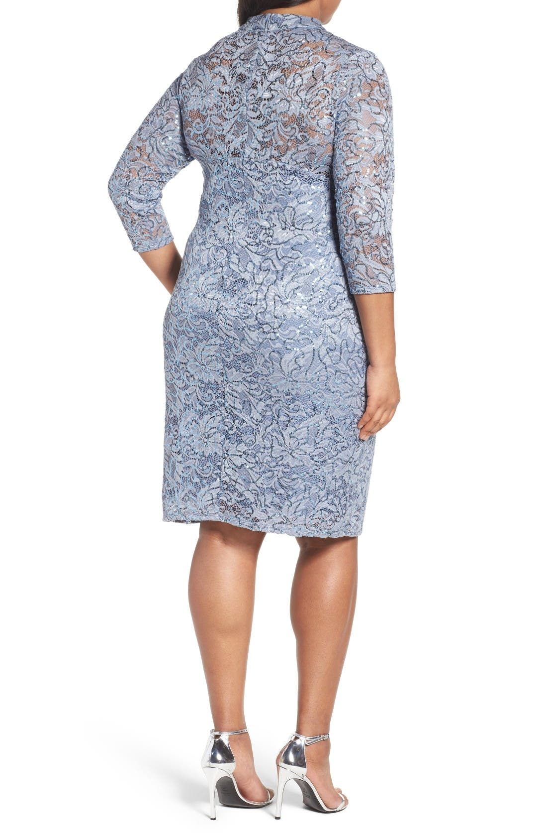 Alternate Image 2  - Marina Cutout Sequin Lace Sheath Dress (Plus Size)