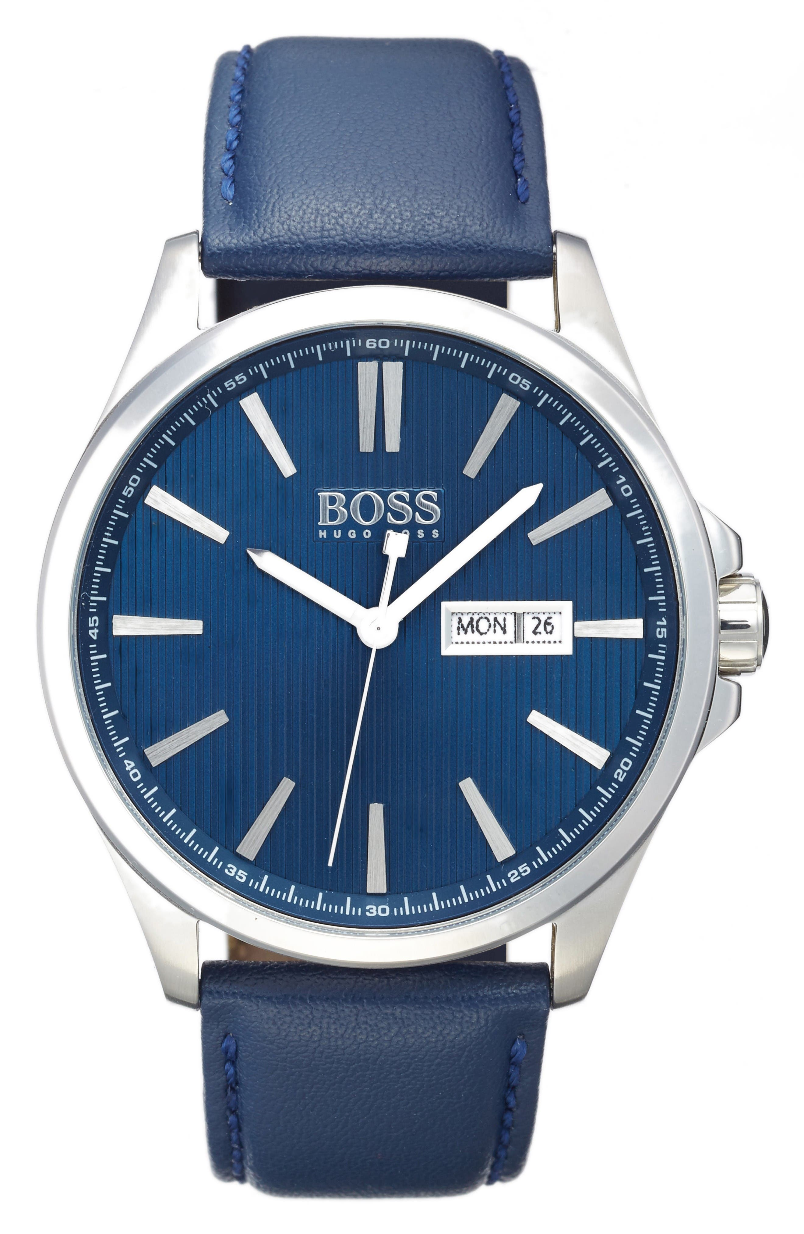 BOSS The James Leather Strap Watch, 42mm,                         Main,                         color, Navy/ Navy