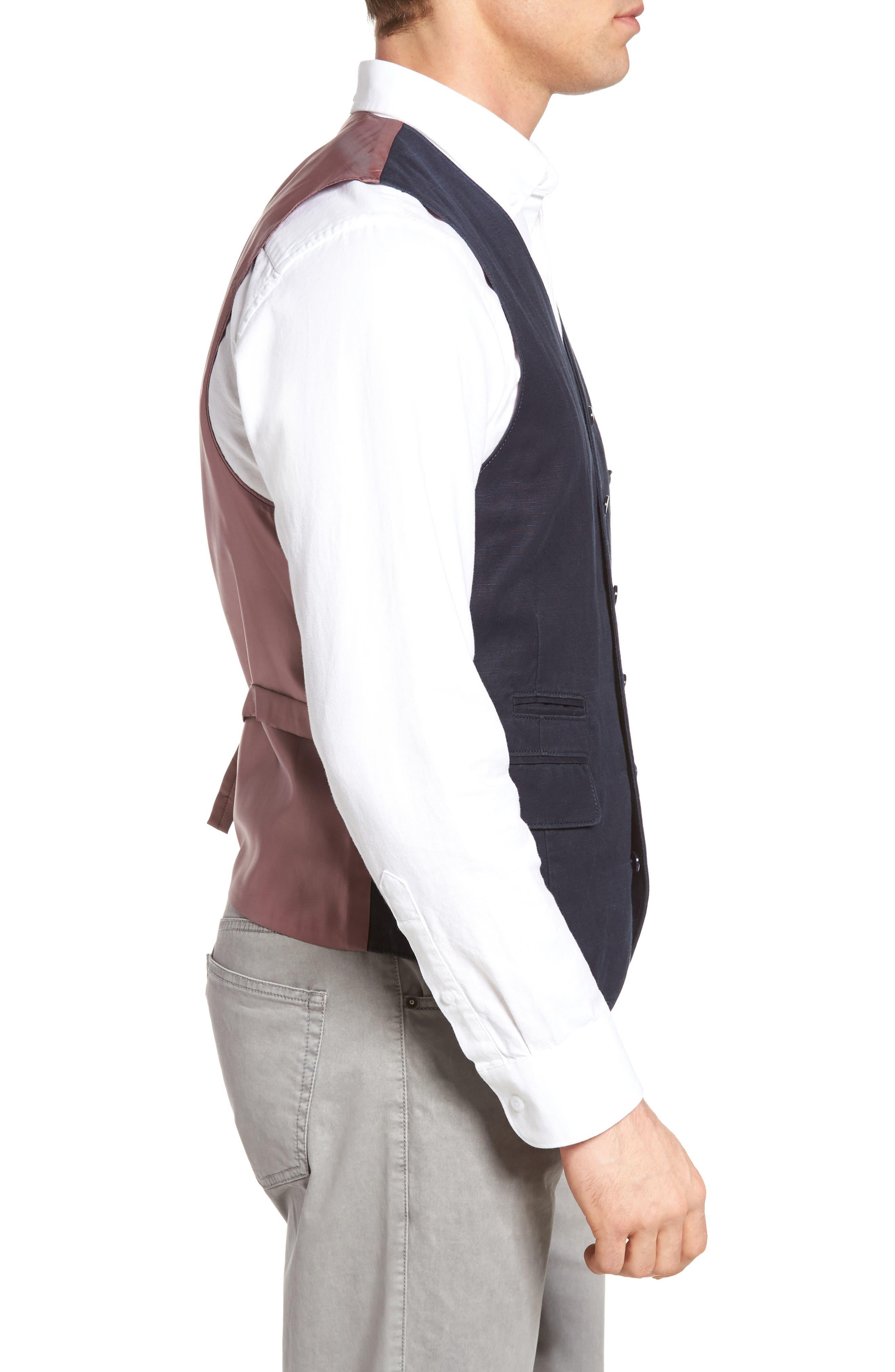 Hootie Solid Cotton & Linen Vest,                             Alternate thumbnail 3, color,                             Navy