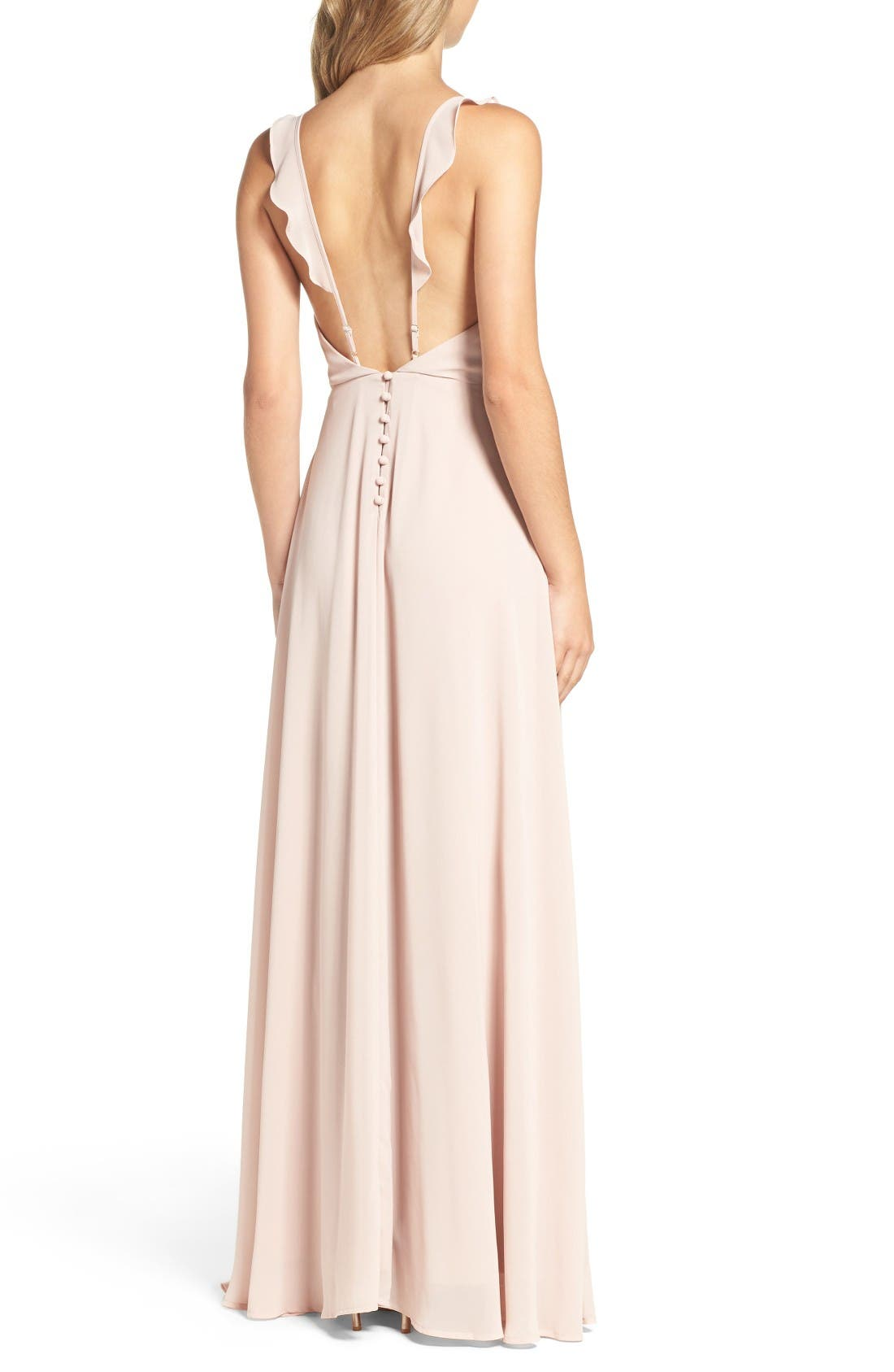 Alternate Image 2  - Lulus Flutter Strap A-Line Chiffon Gown