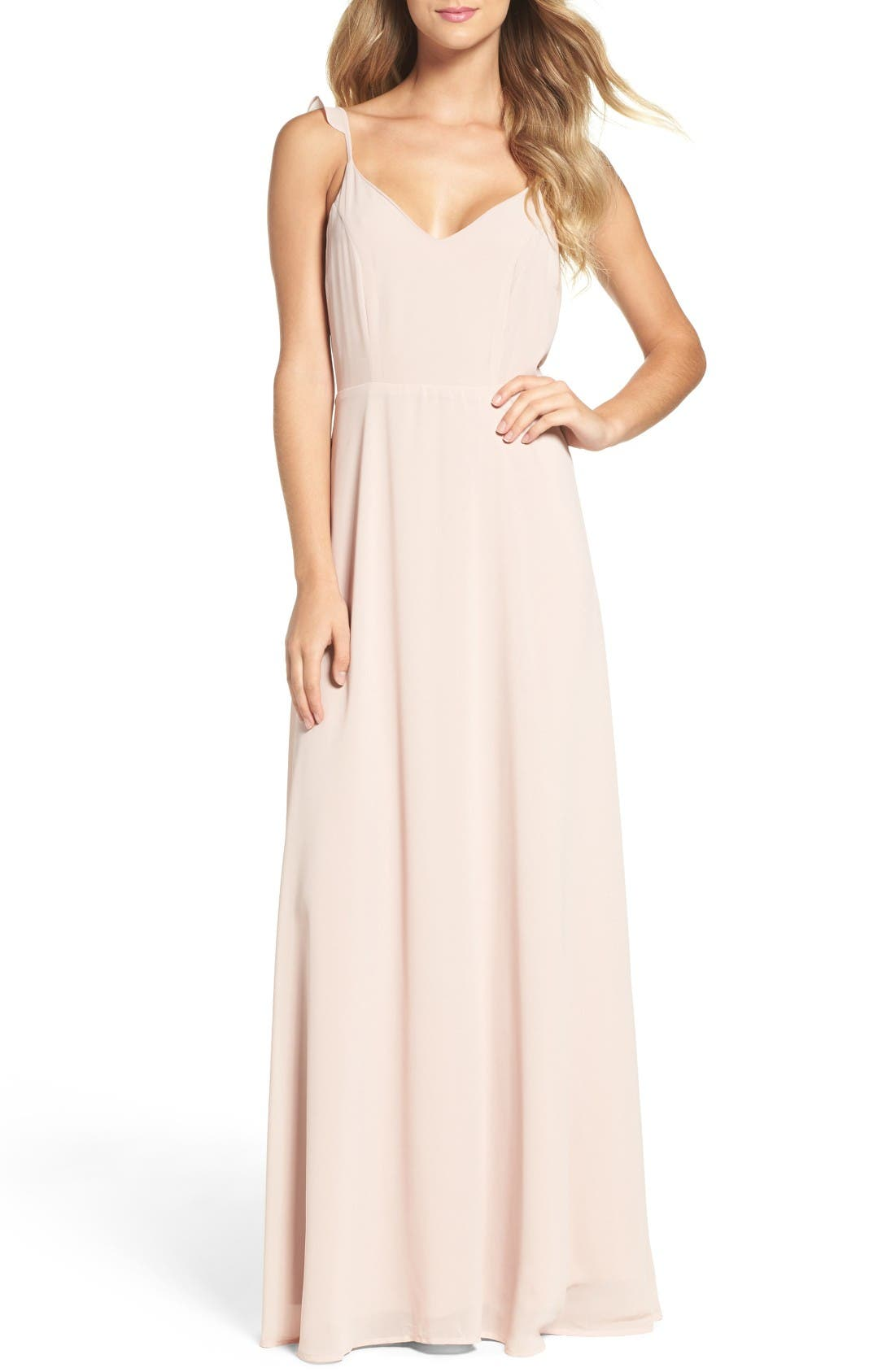 LULUS Flutter Strap A-Line Chiffon Gown