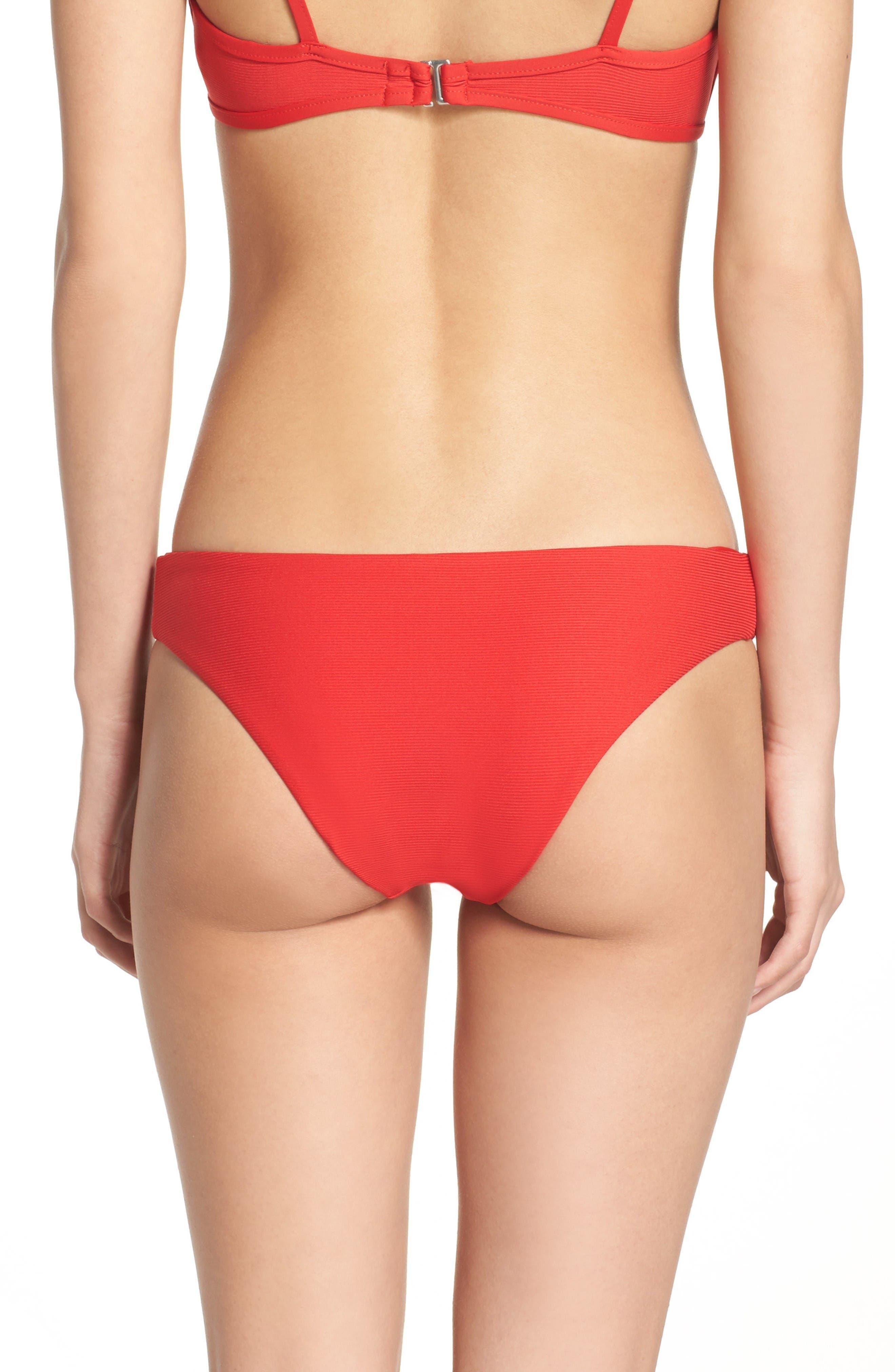 Ali Ribbed Bikini Bottoms,                             Alternate thumbnail 2, color,                             Viking Red Ribbed