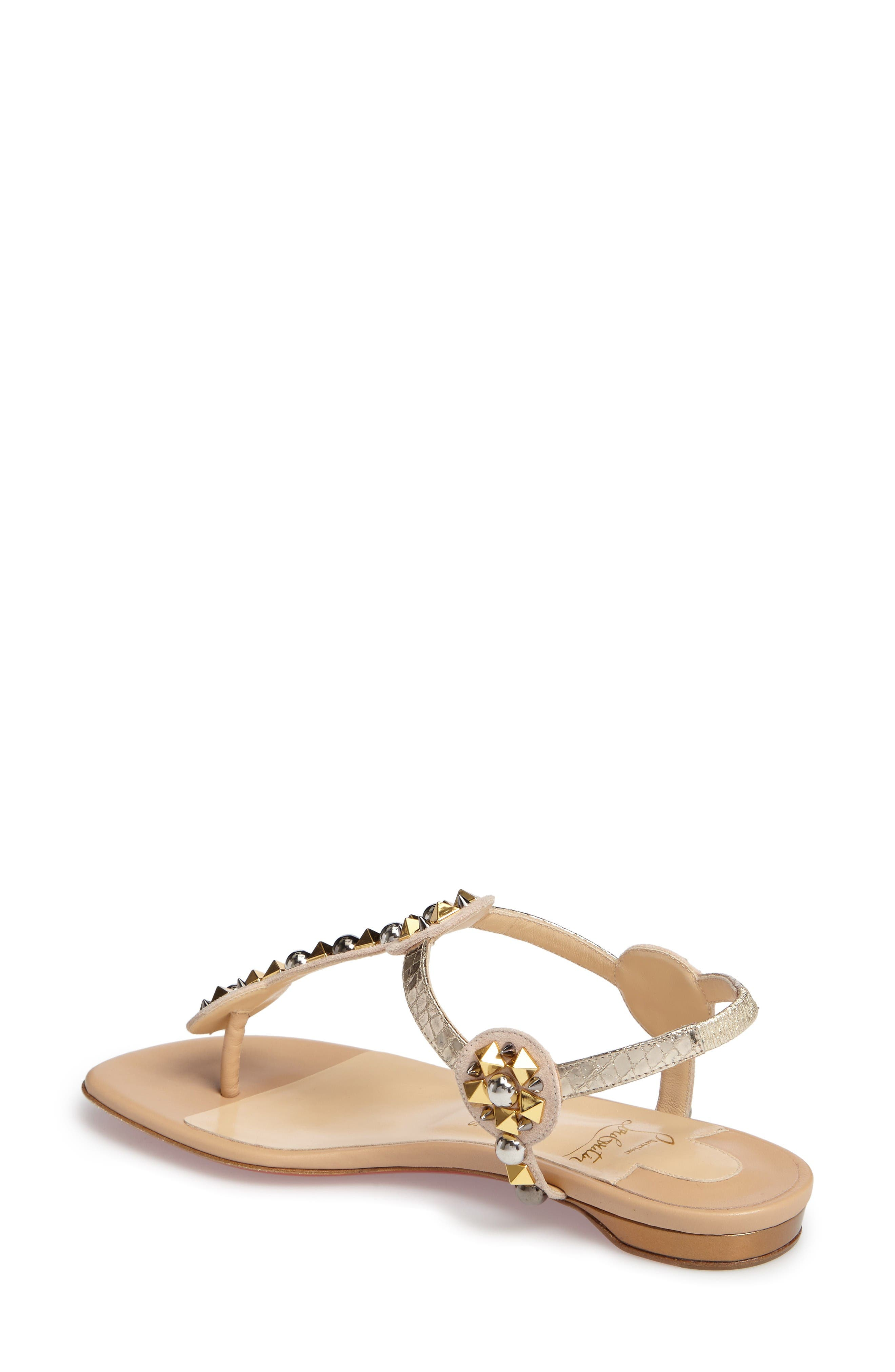 Kaleidra T-Strap Sandal,                             Alternate thumbnail 2, color,                             Nude Leather