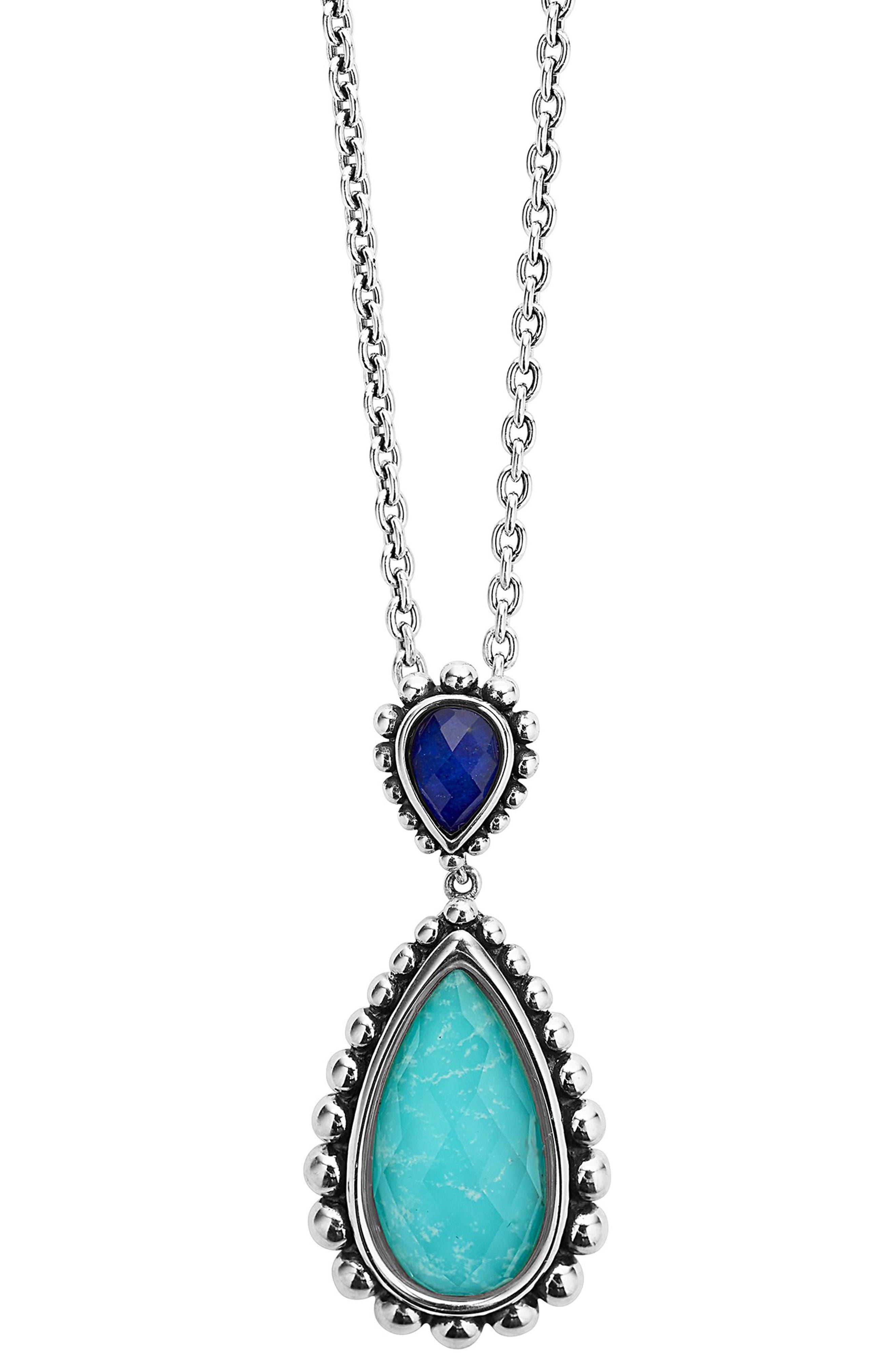 Maya Semiprecious Stone Pendant Necklace,                         Main,                         color, Turquoise