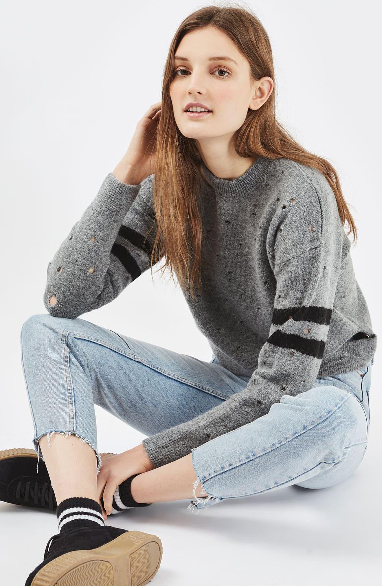 Alternate Image 2  - Topshop Nibbled Stripe Sweater