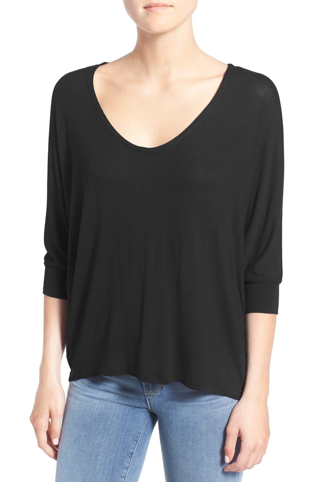 Dolman Sleeve Top,                         Main,                         color, Black