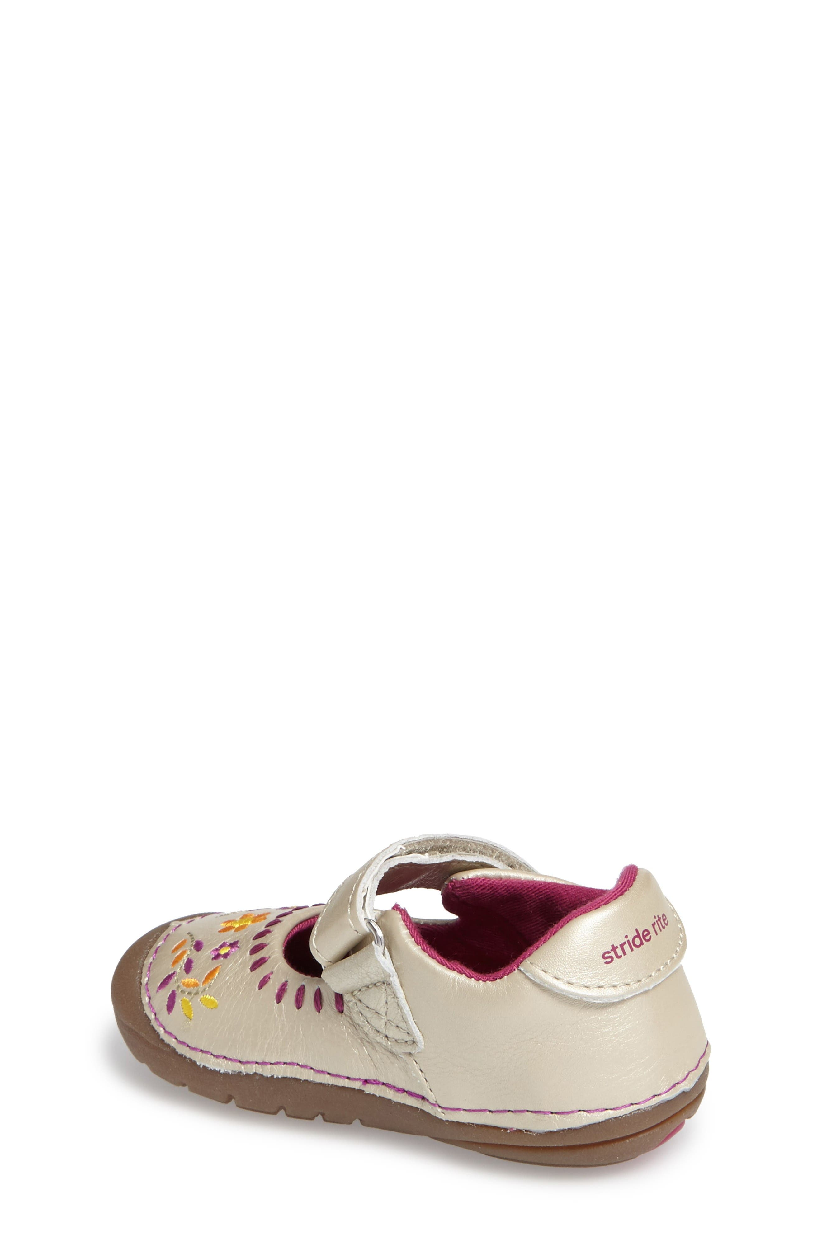 Alternate Image 2  - Stride Rite Atley Flower Embroidered Mary Jane (Baby & Walker)