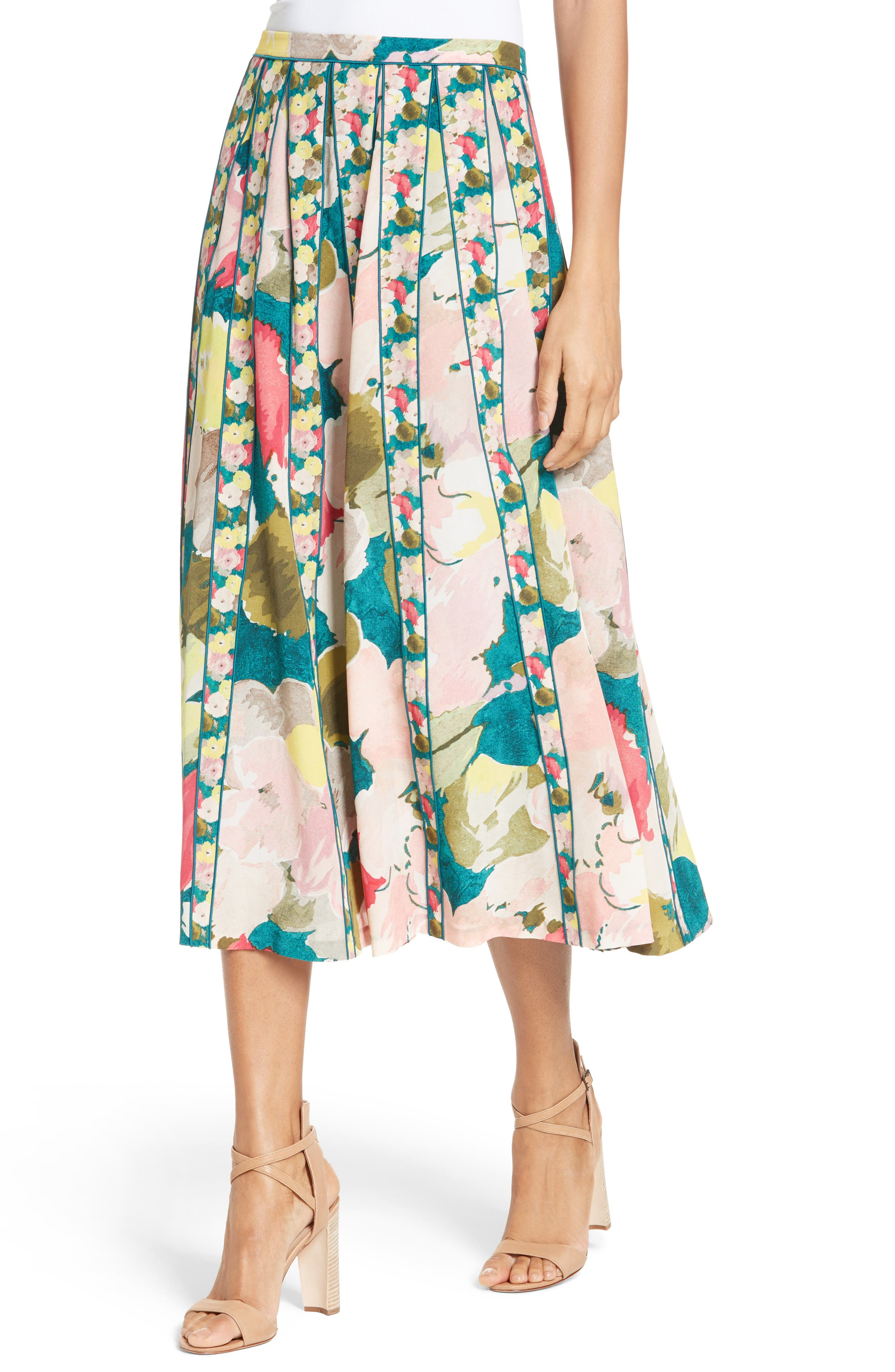 Alternate Image 6  - Lafayette 148 New York Adalia Pleated Floral Silk Skirt