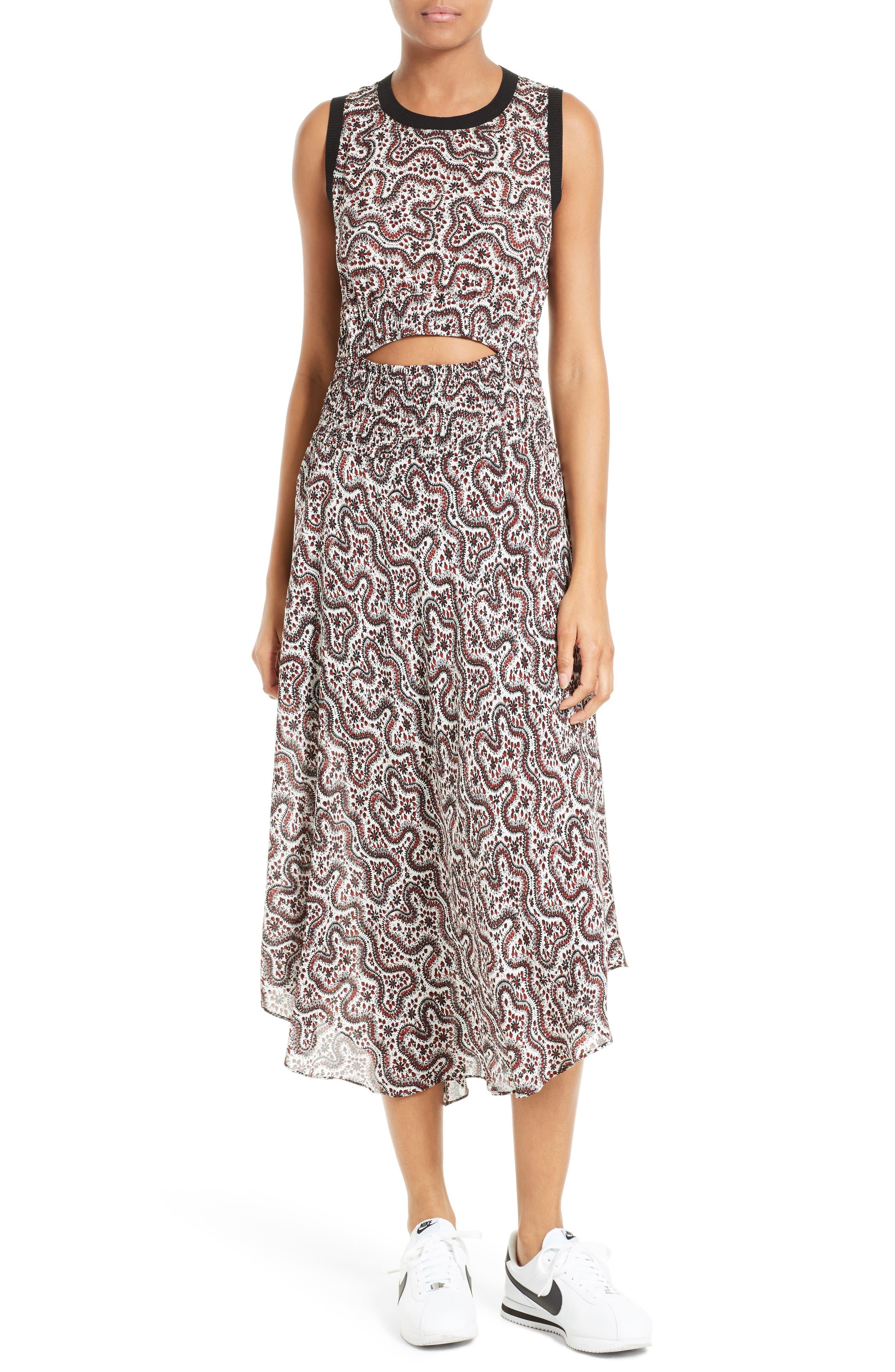 Alternate Image 1 Selected - A.L.C. Sandra Cutout Silk Midi Dress