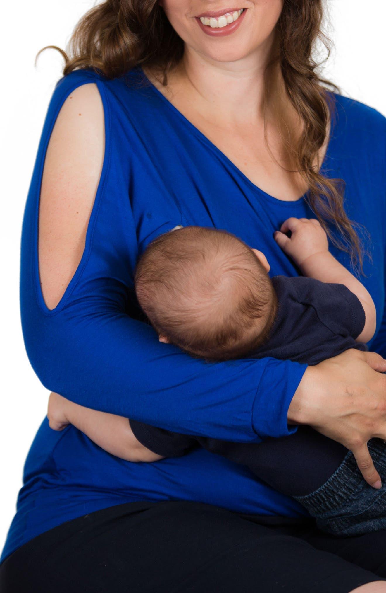 Open Arm Nursing Top,                             Alternate thumbnail 3, color,                             Electric Blue