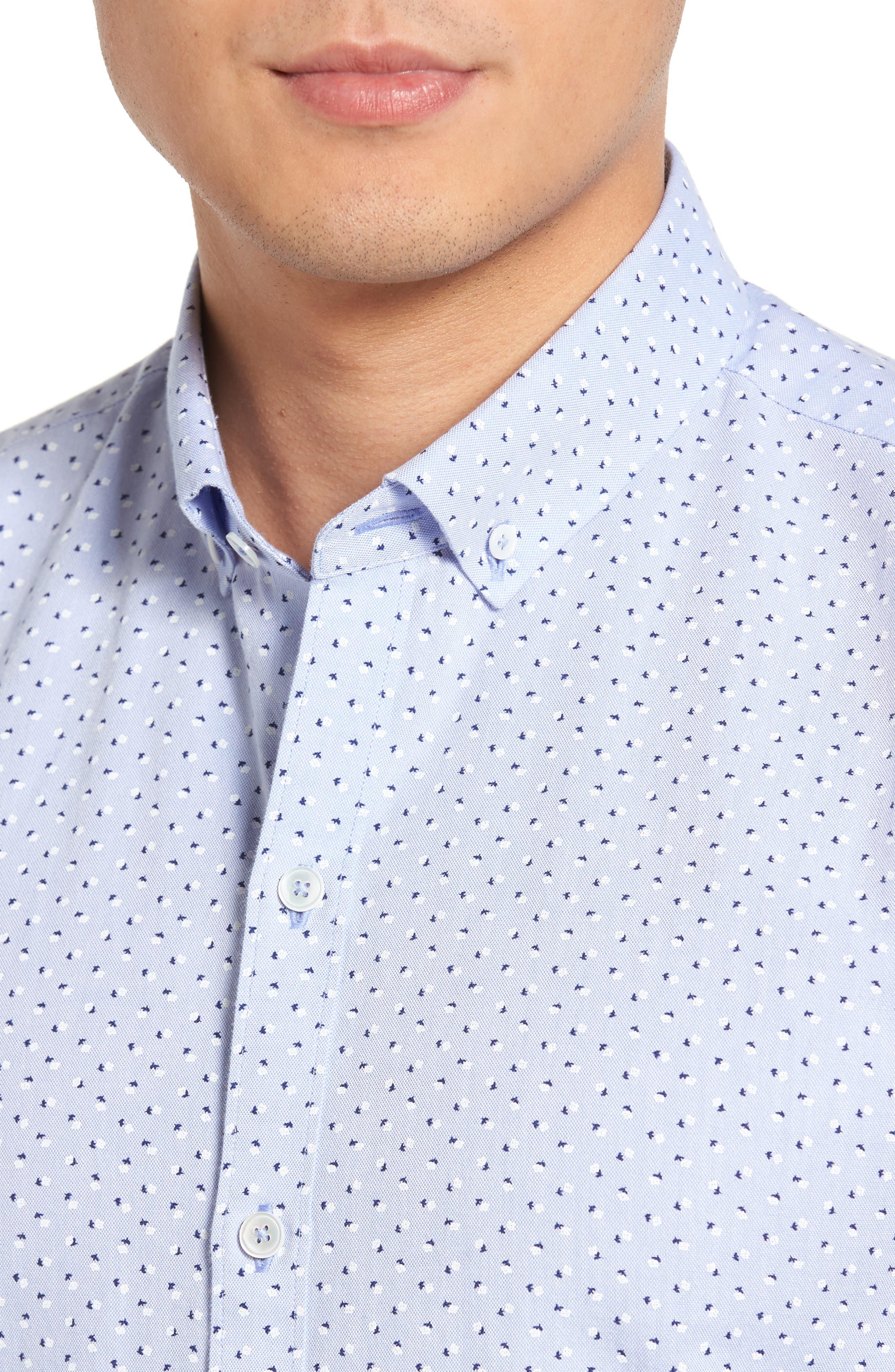 Benedict Print Sport Shirt,                             Alternate thumbnail 4, color,                             Pale Blue