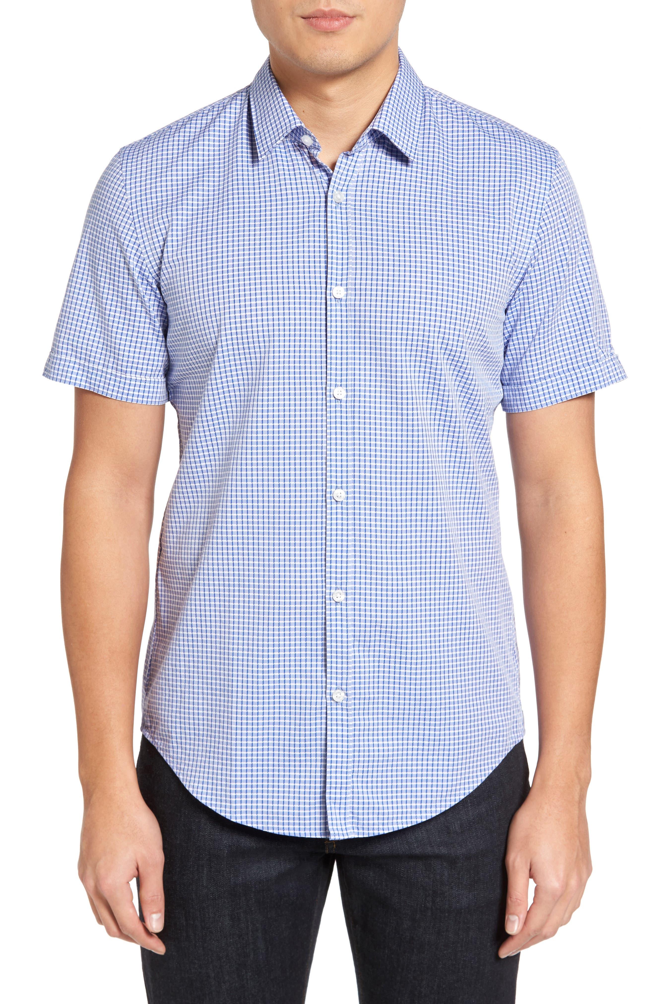 Ronn Check Sport Shirt,                         Main,                         color, Medium Blue