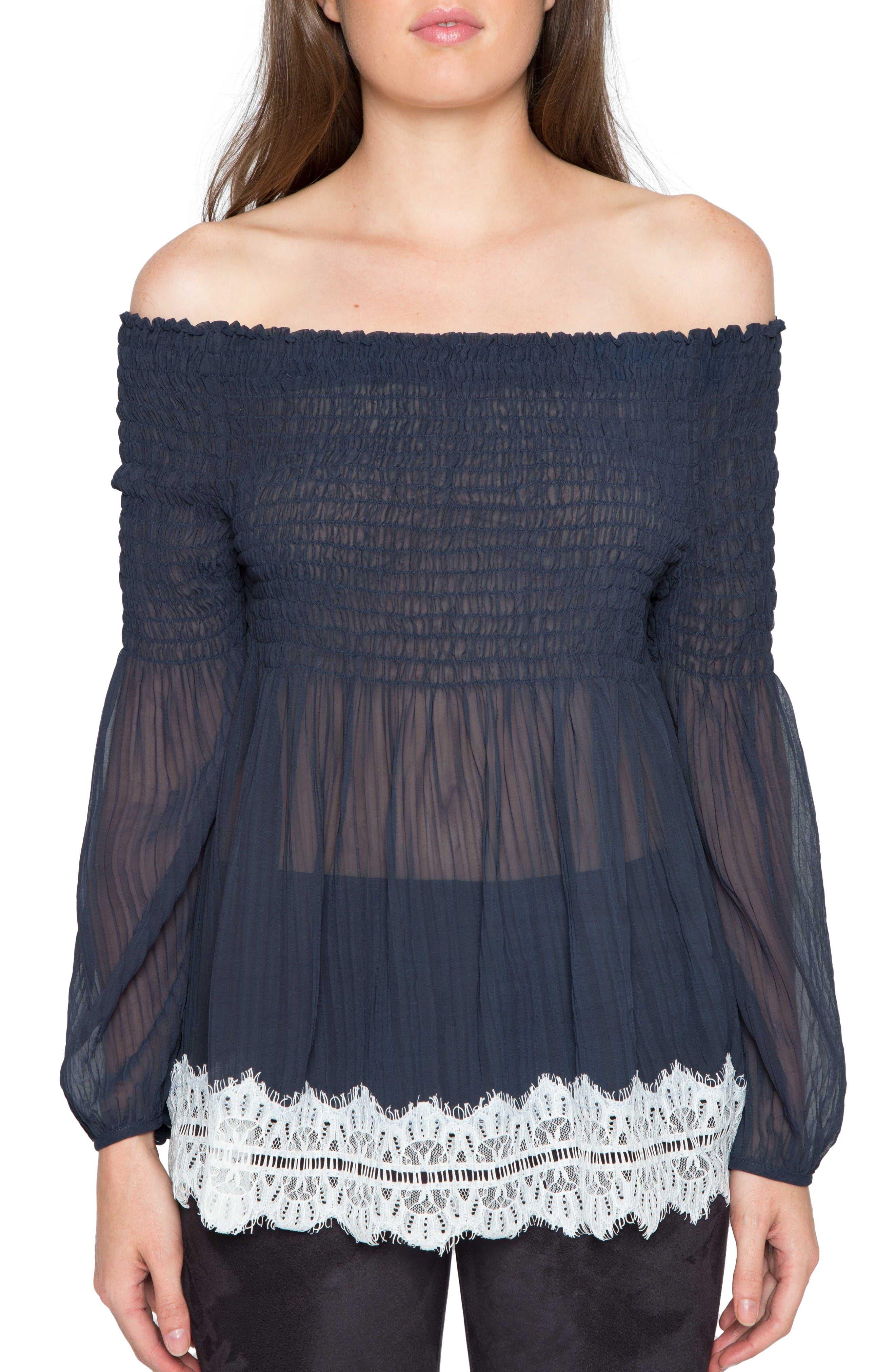 Willow & Clay Shirred Off the Shoulder Top