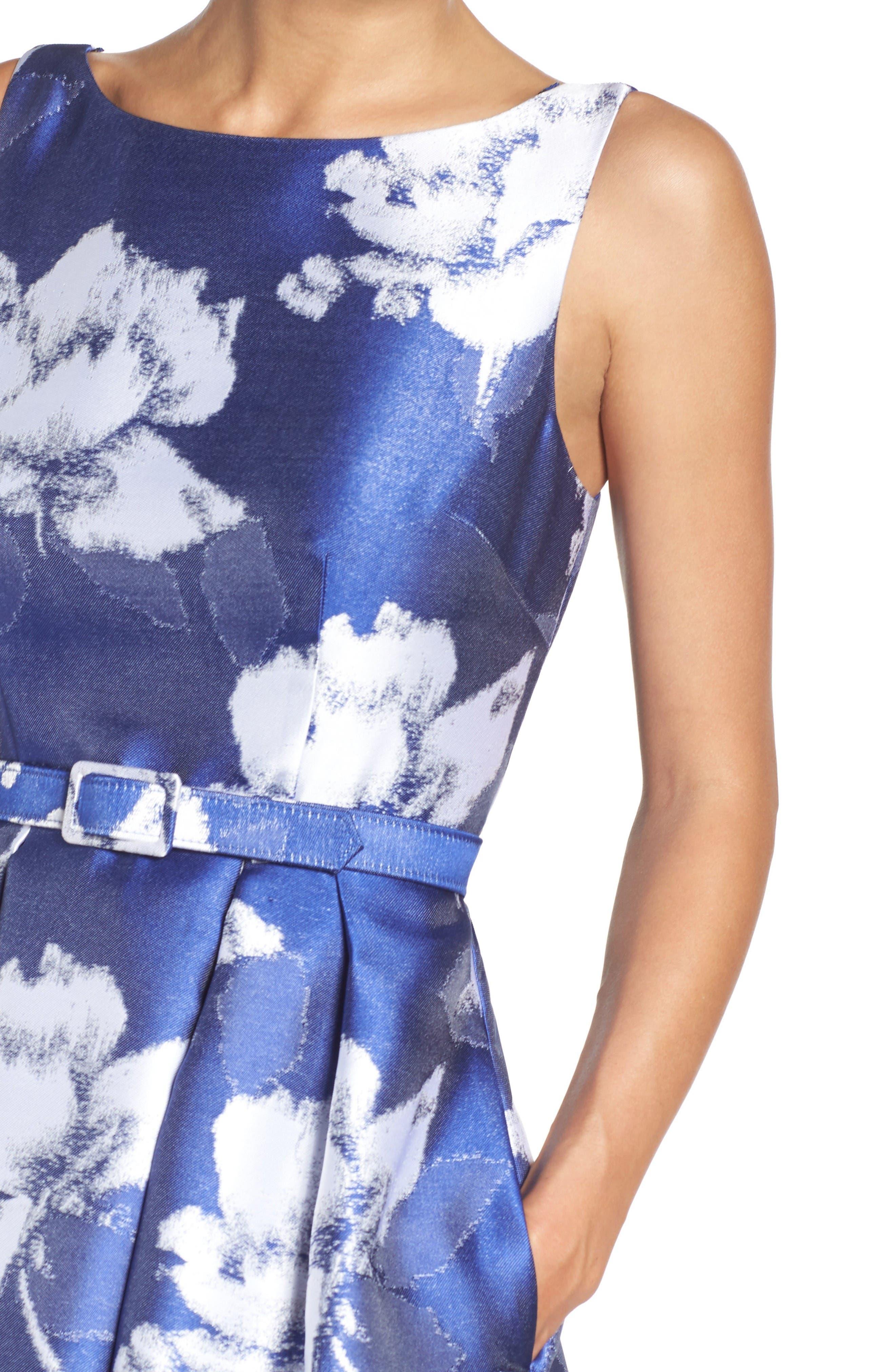 Alternate Image 5  - Eliza J Belted Floral Jacquard Dress