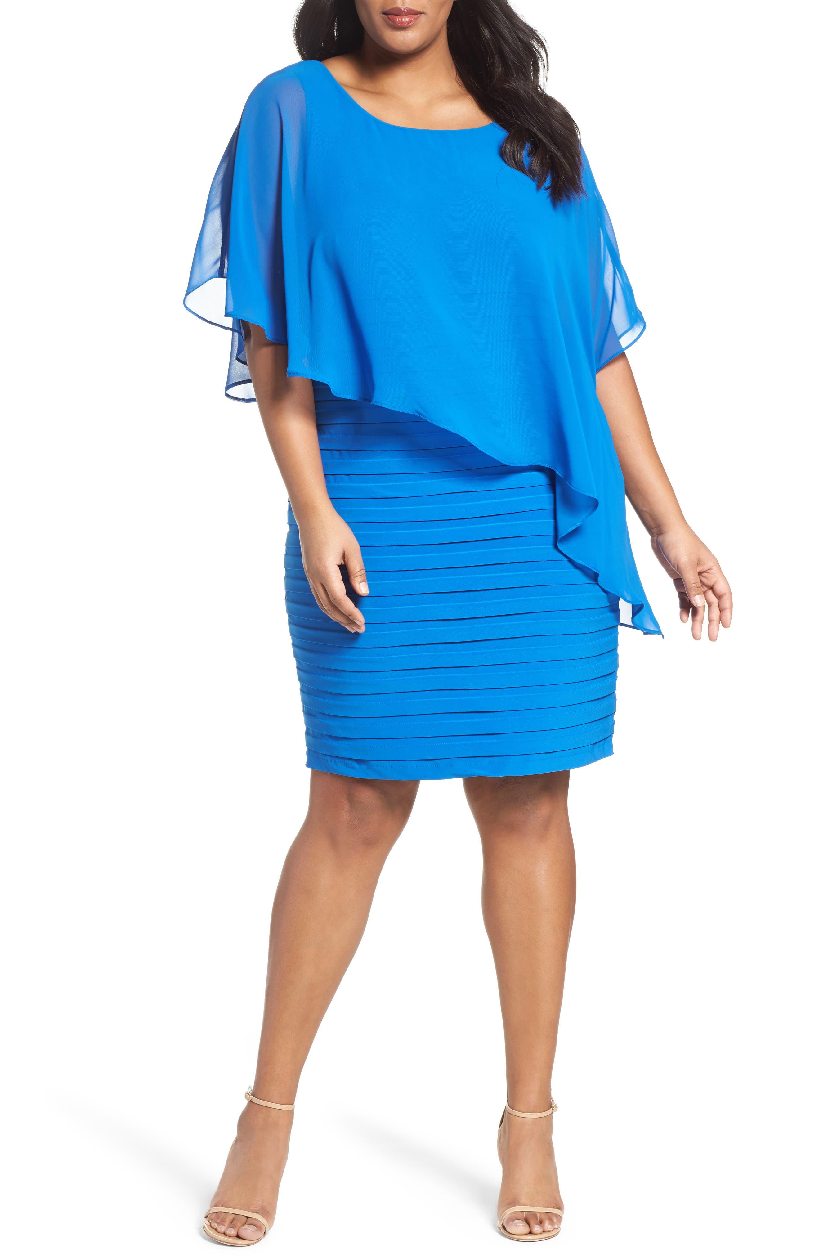 Main Image - Adrianna Papell Chiffon Overlay Shutter Pleat Sheath Dress (Plus Size)