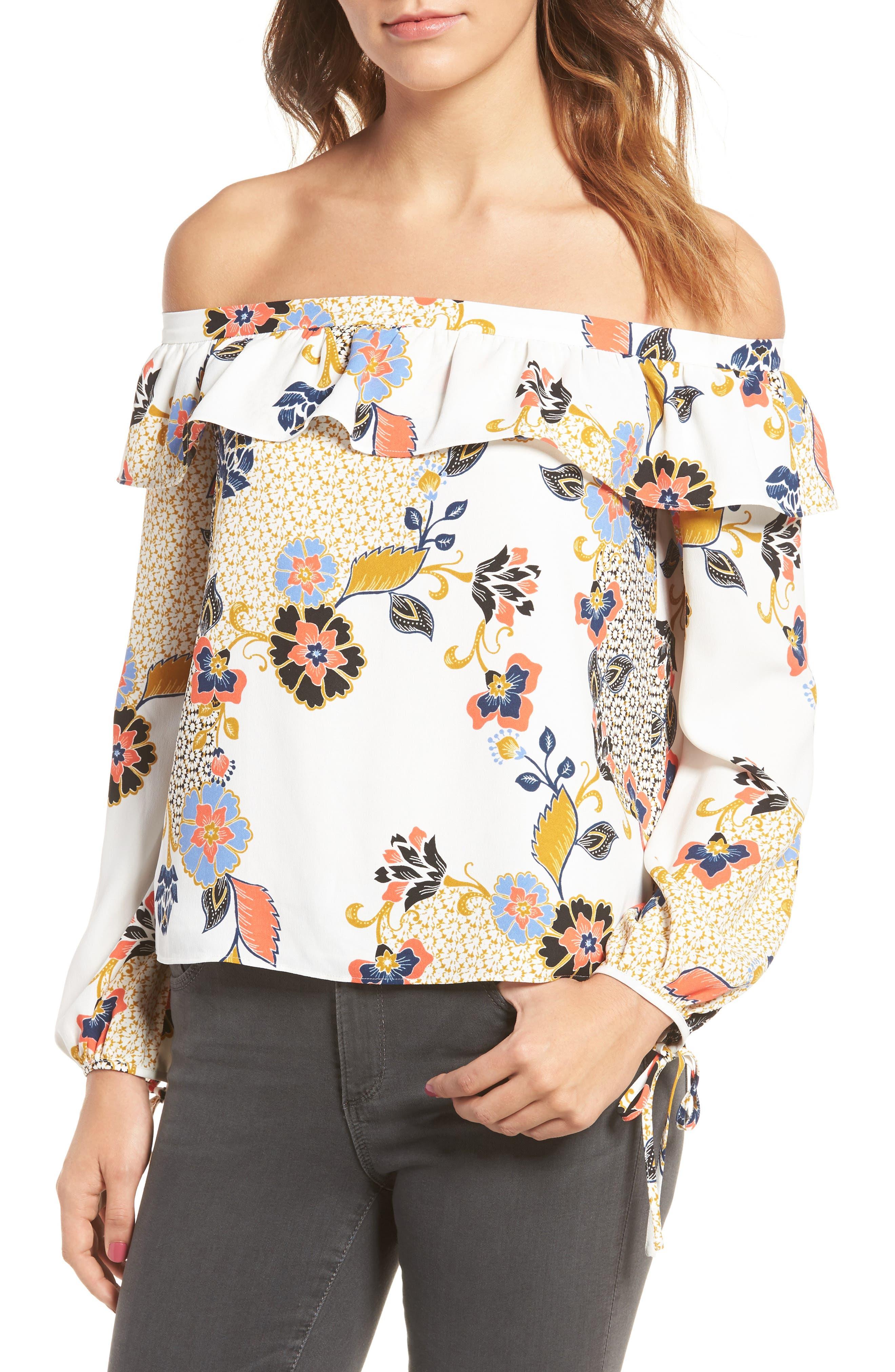 Alternate Image 1 Selected - cooper & ella Leticia Off the Shoulder Blouse