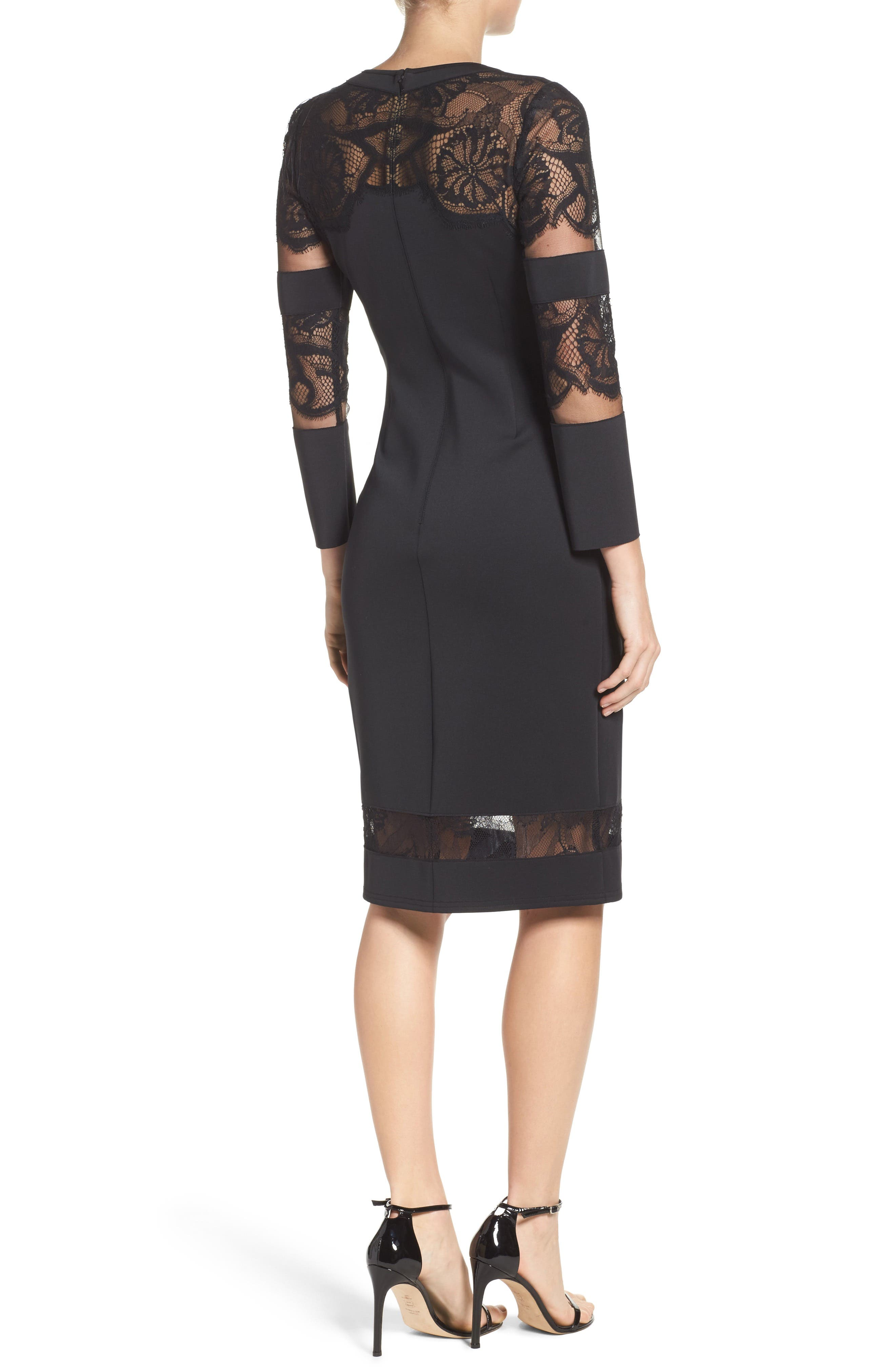 Fringe Sheath Dress,                             Alternate thumbnail 2, color,                             Black