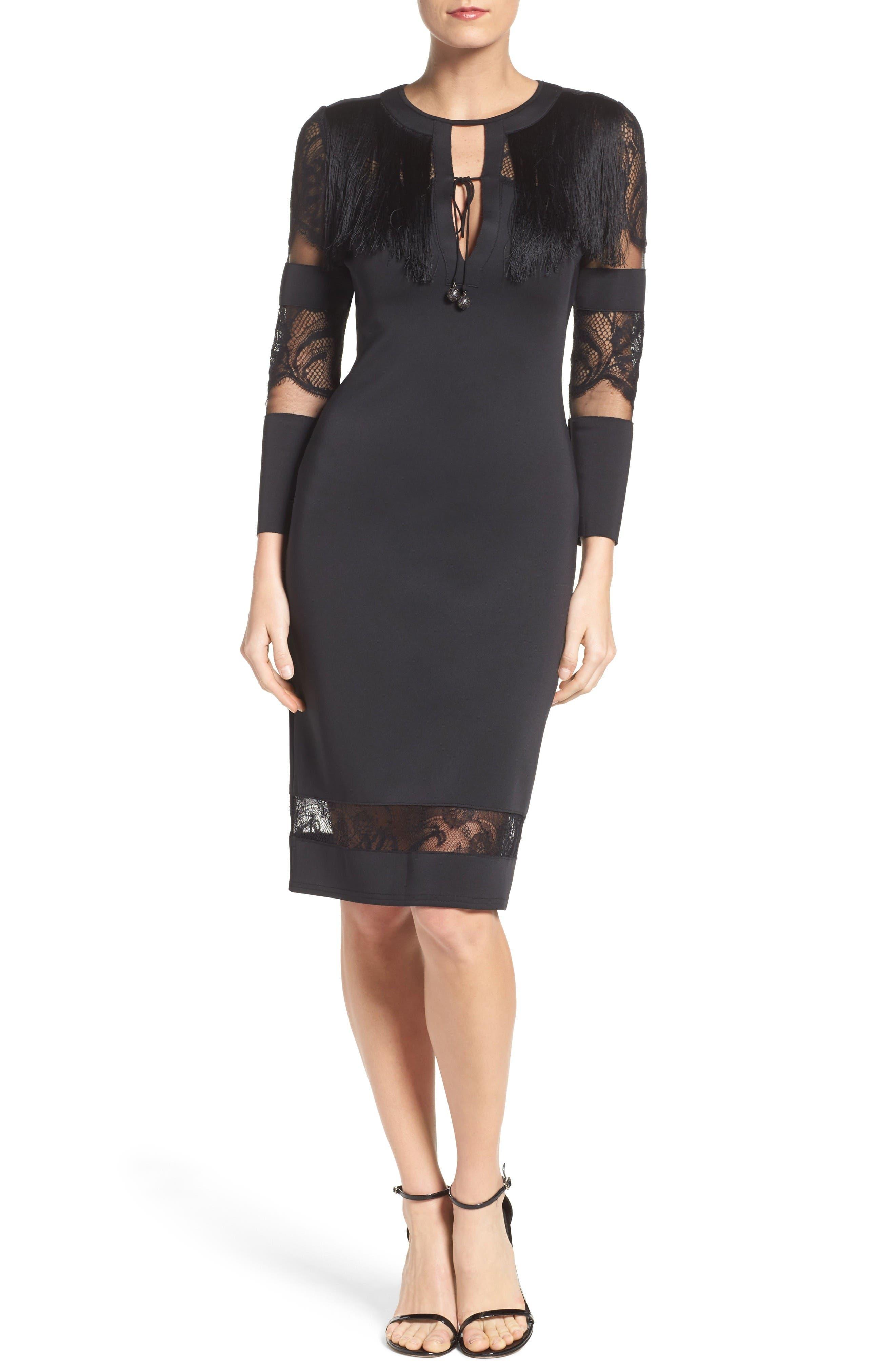Fringe Sheath Dress,                             Alternate thumbnail 4, color,                             Black