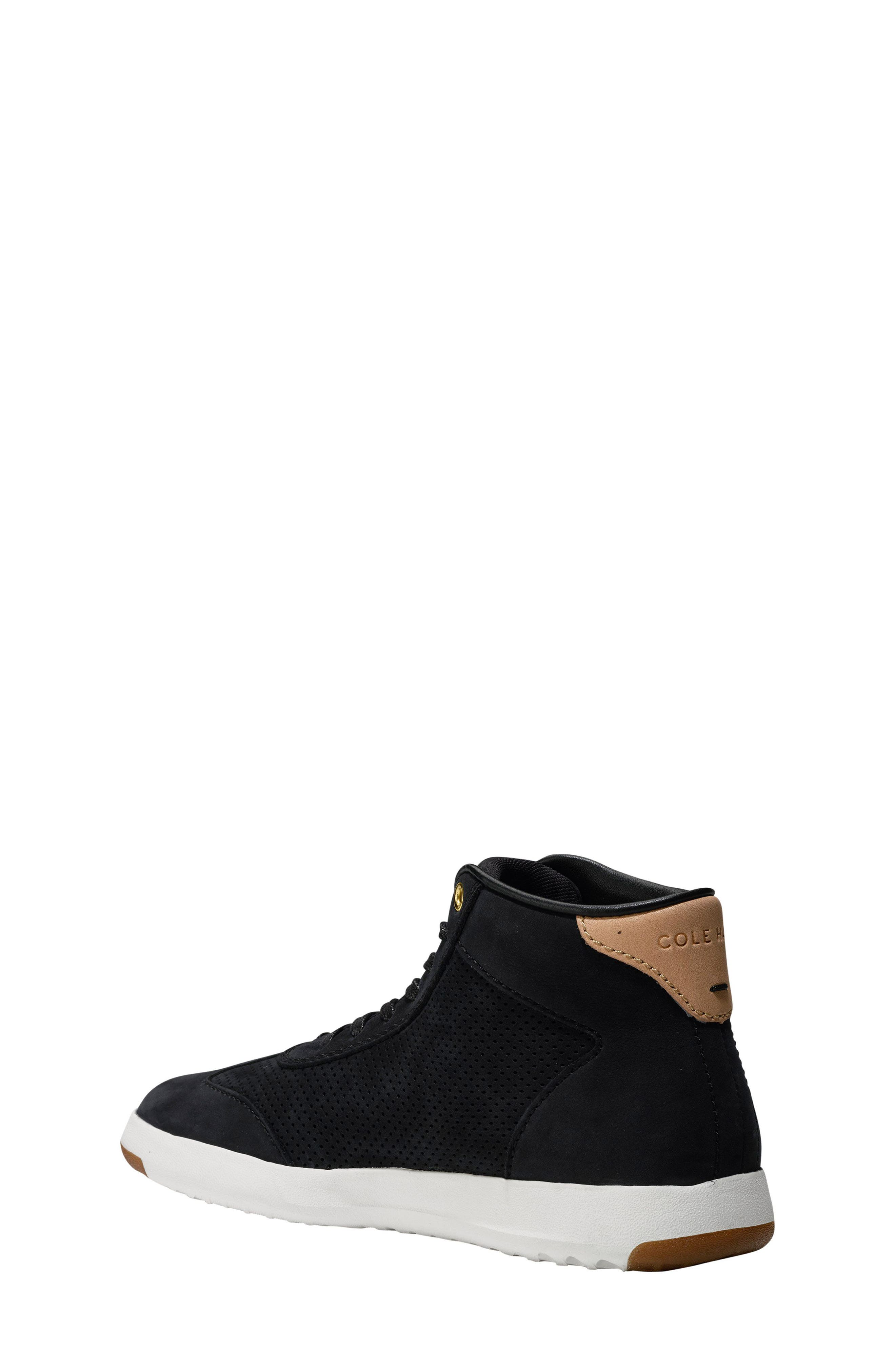 GrandPro High Top Sneaker,                             Alternate thumbnail 2, color,                             Black Nubuck Leather
