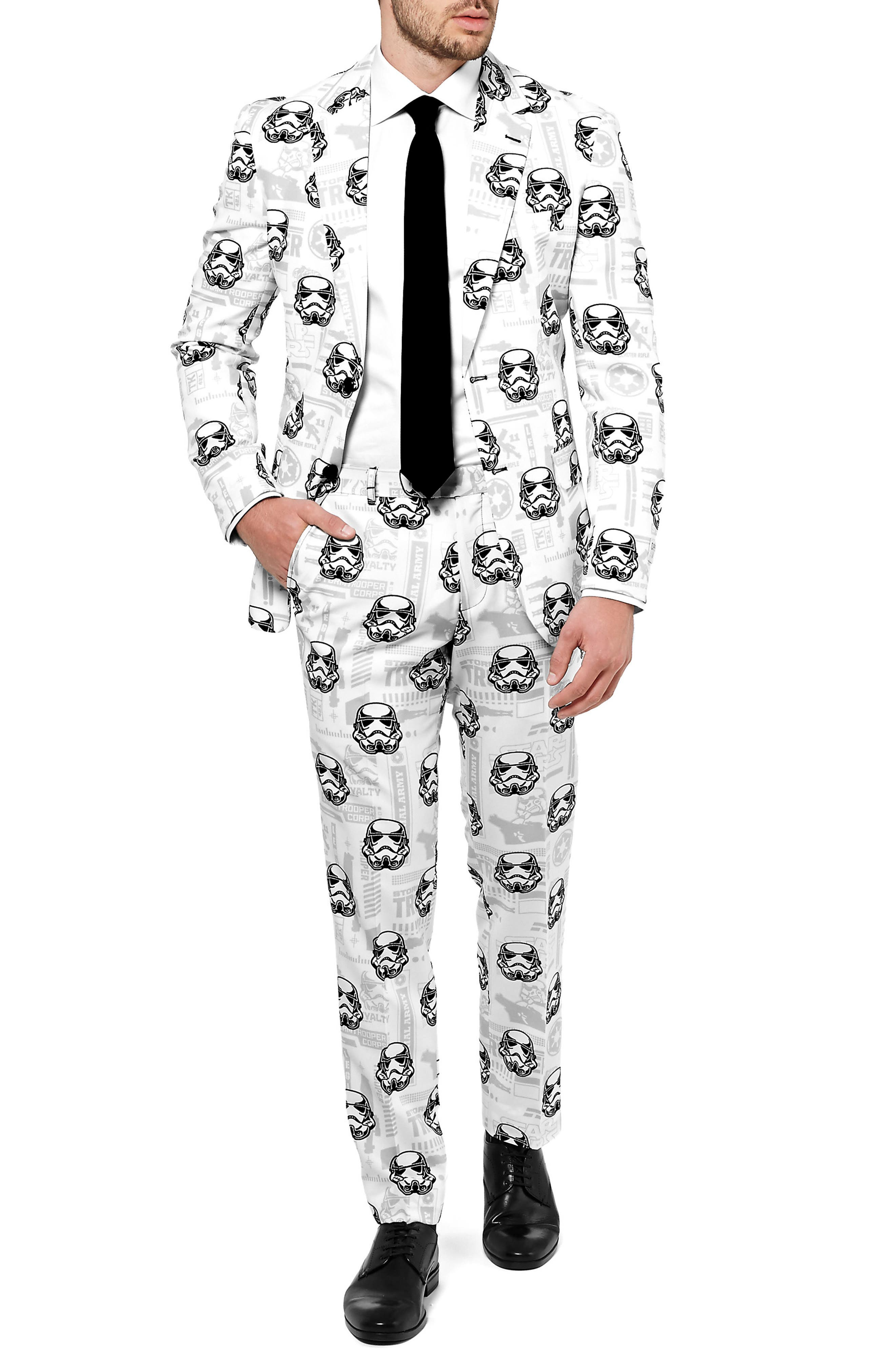 Stormtrooper Trim Fit Two-Piece Suit with Tie,                             Alternate thumbnail 4, color,                             White/ Multi