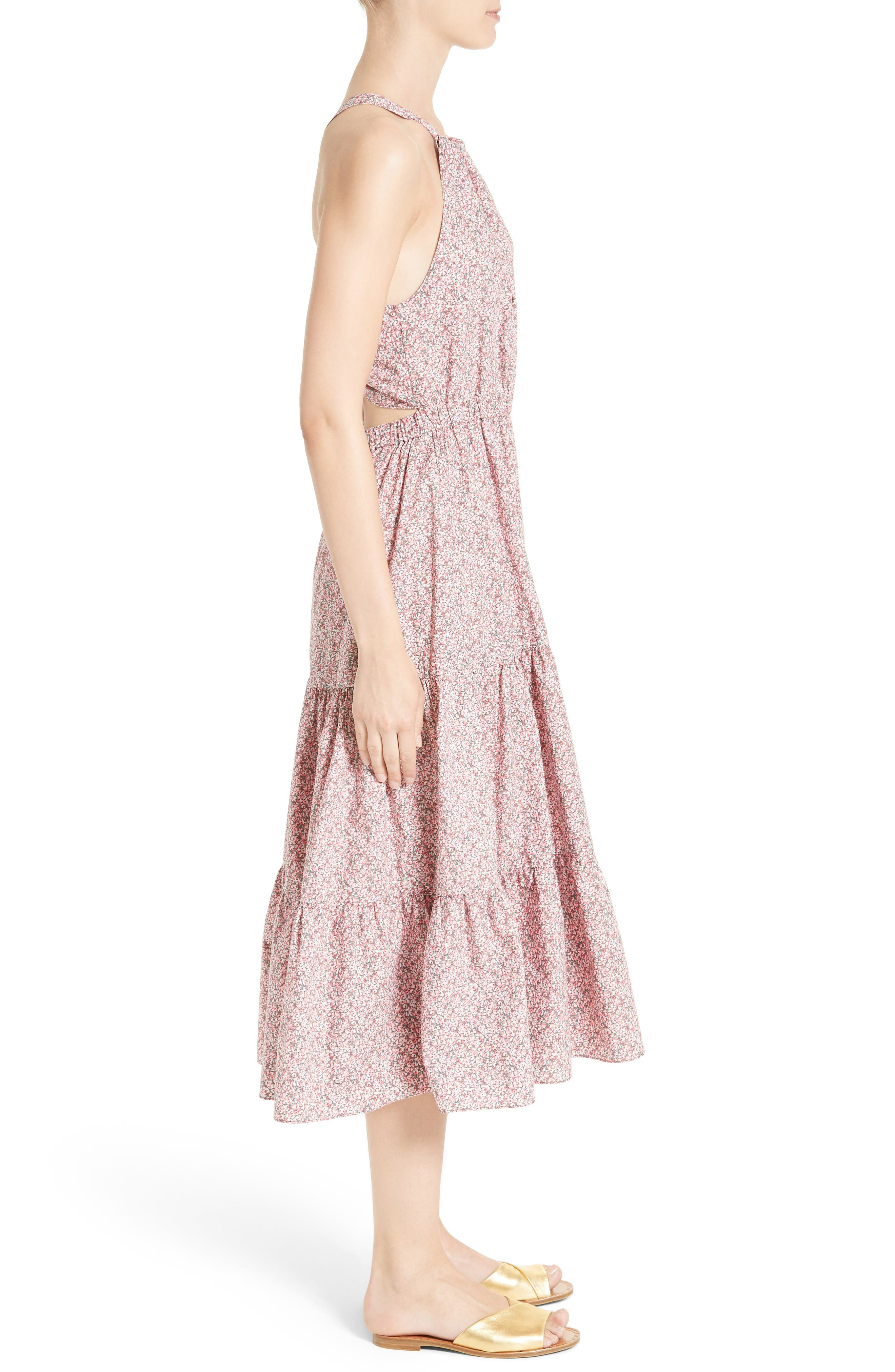 Alternate Image 3  - La Vie Rebecca Taylor Meadow Floral Tie Back Tiered Sundress