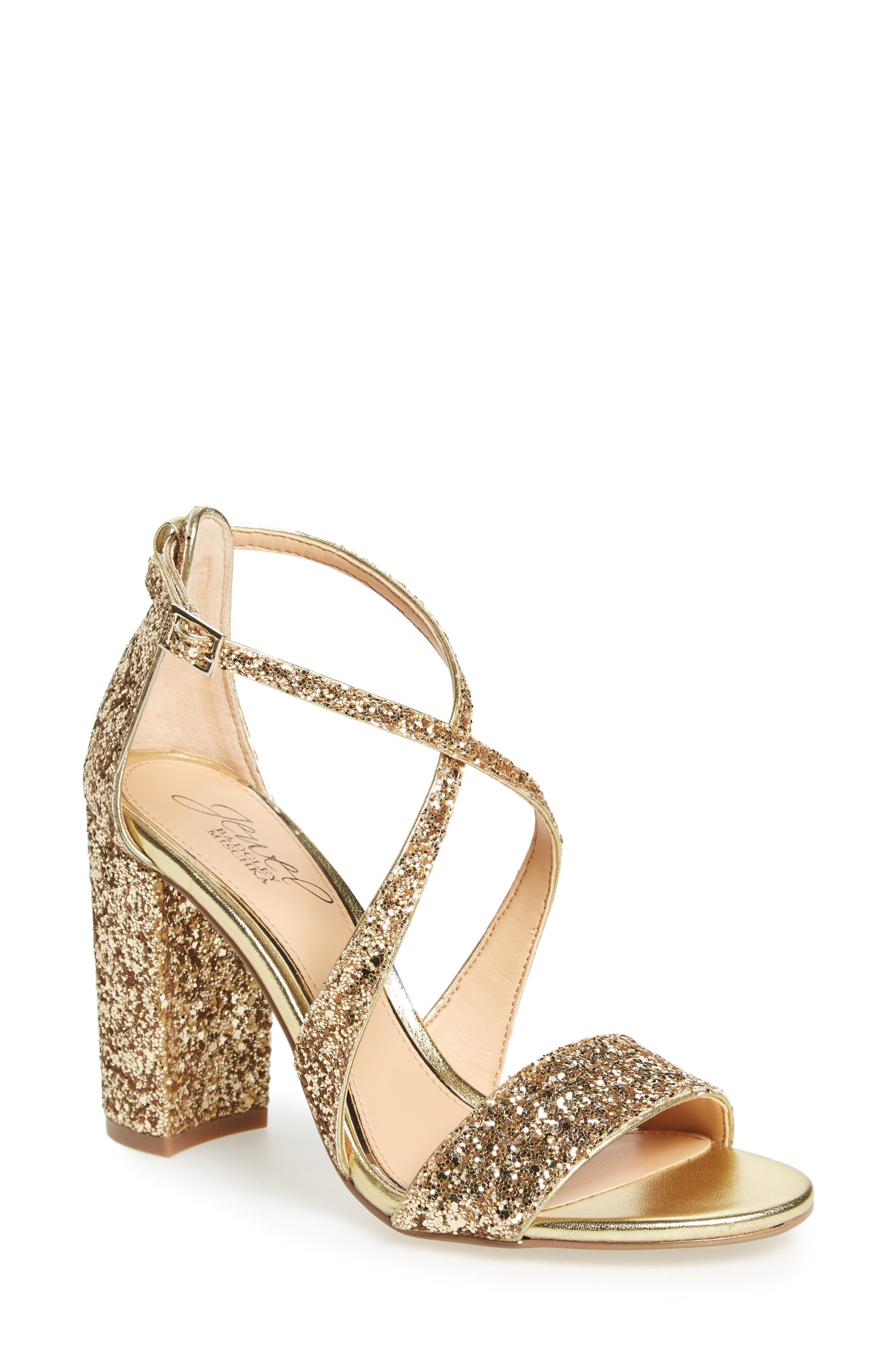 Cook Block Heel Glitter Sandal,                             Main thumbnail 1, color,                             Gold Leather