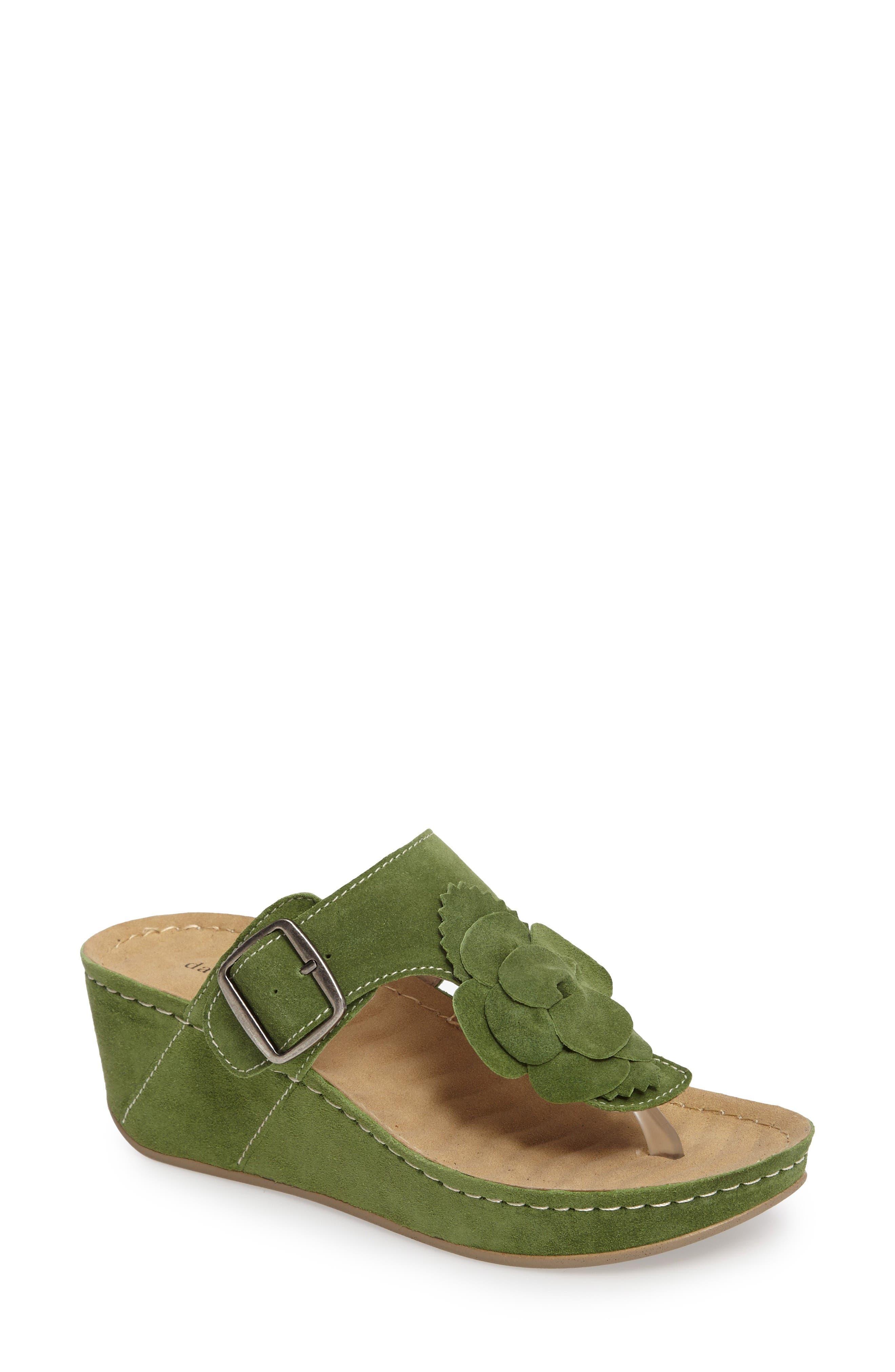 Spring Platform Wedge Sandal,                         Main,                         color, Green Suede