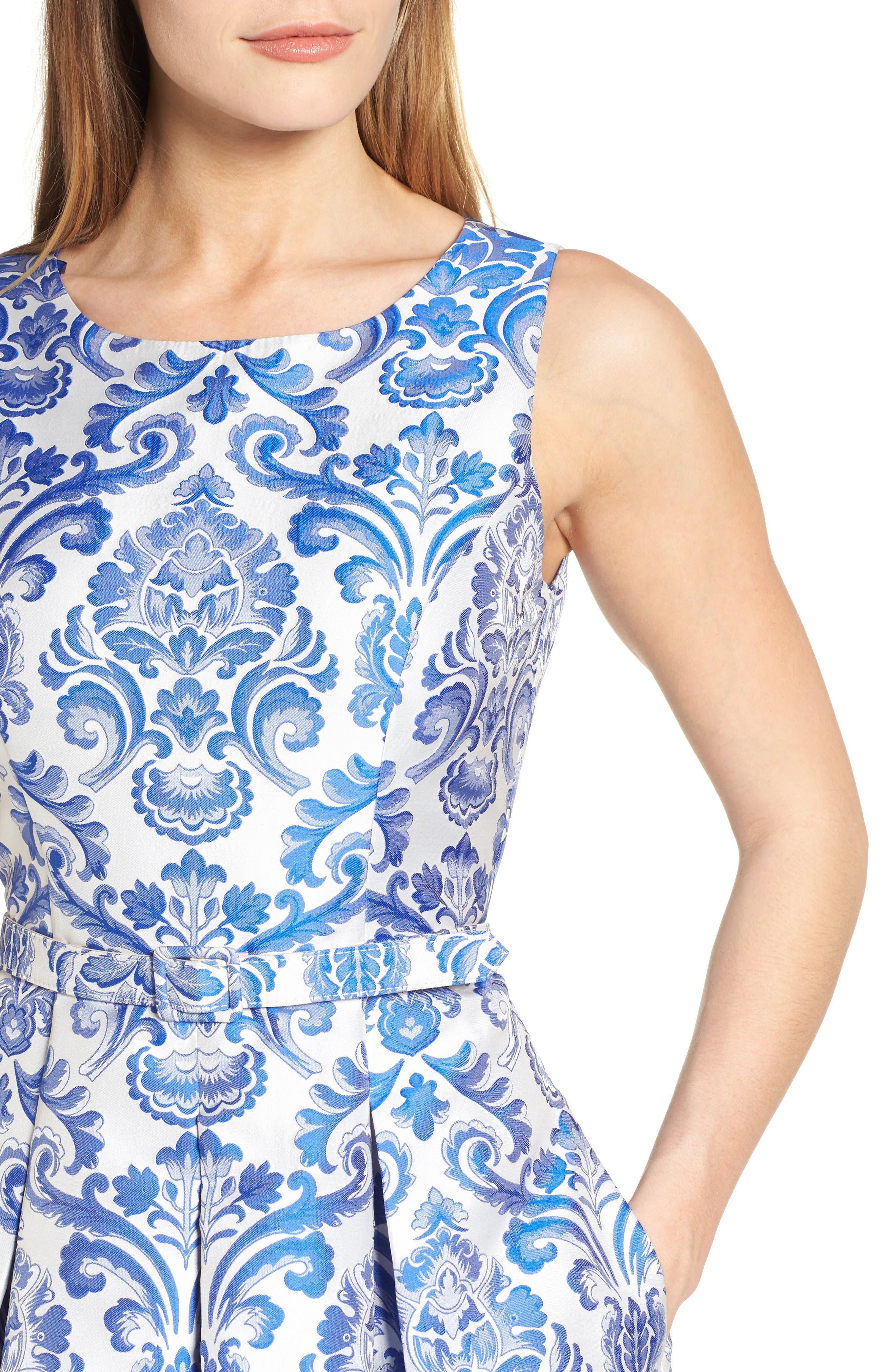 Alternate Image 5  - Eliza J Jacquard Fit & Flare Dress (Regular & Petite)