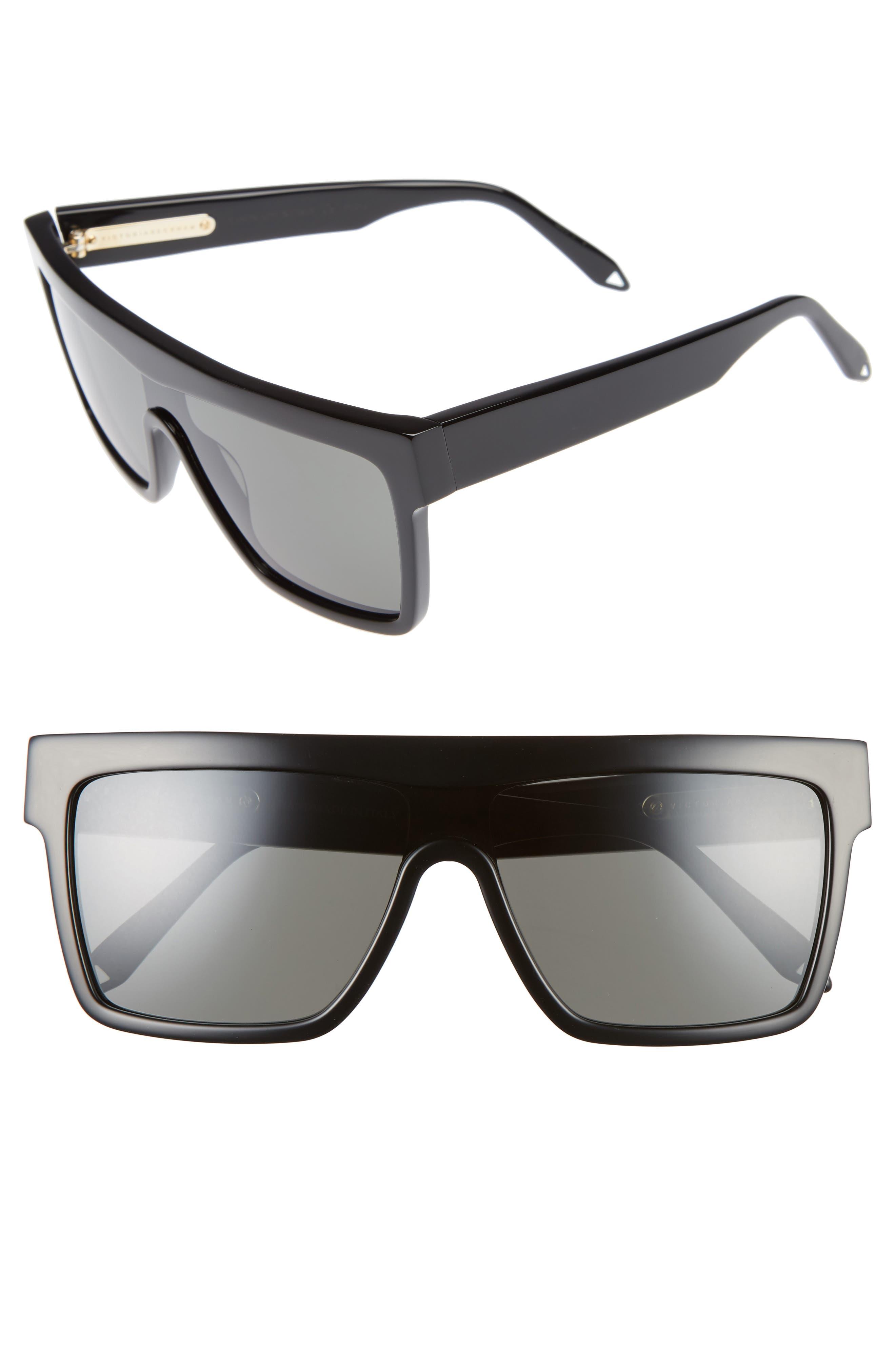 57mm Flat Top Sunglasses,                         Main,                         color, Black/ Black
