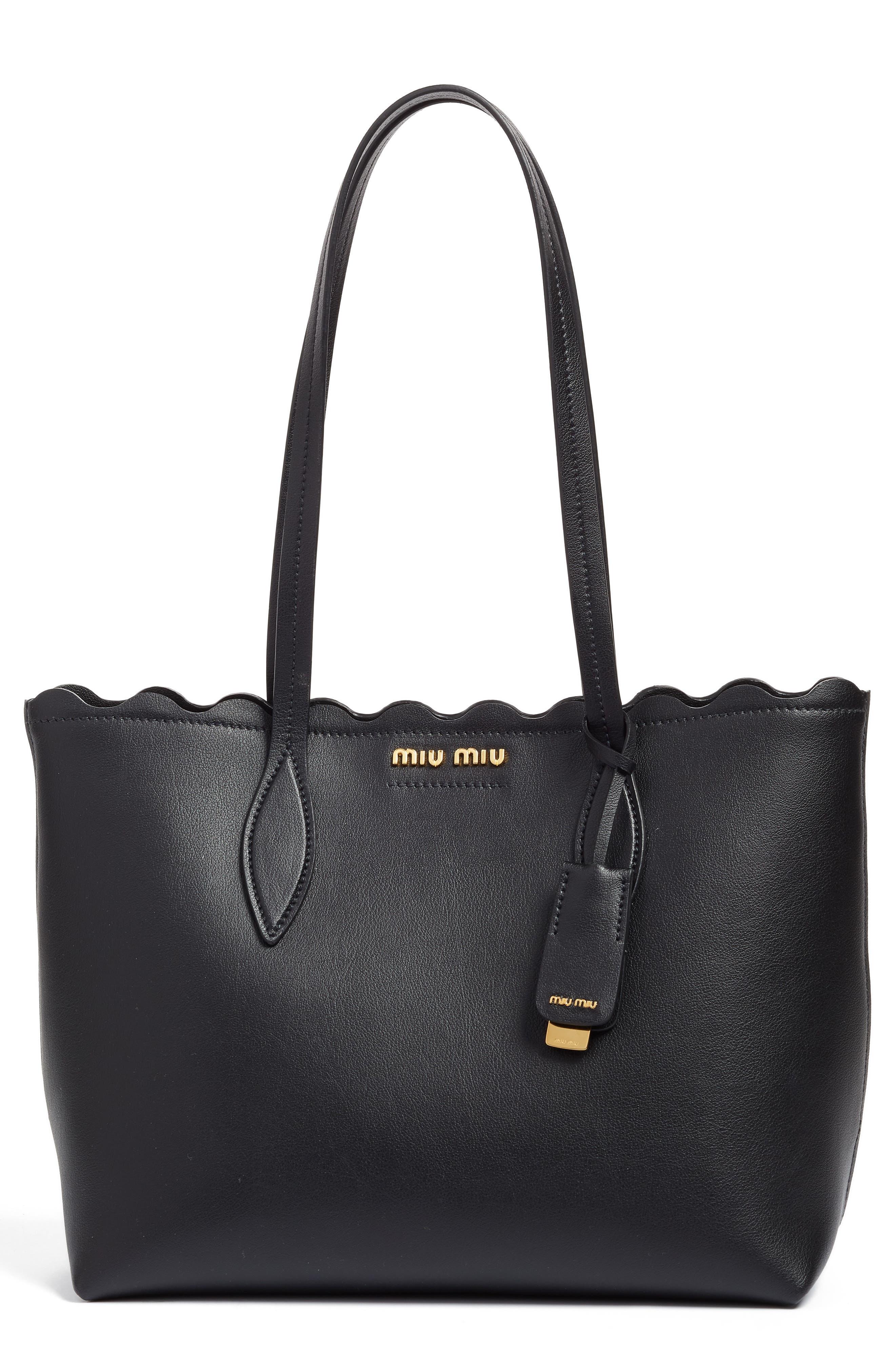 Main Image - Miu Miu Small Wave Calfskin Leather Shopper