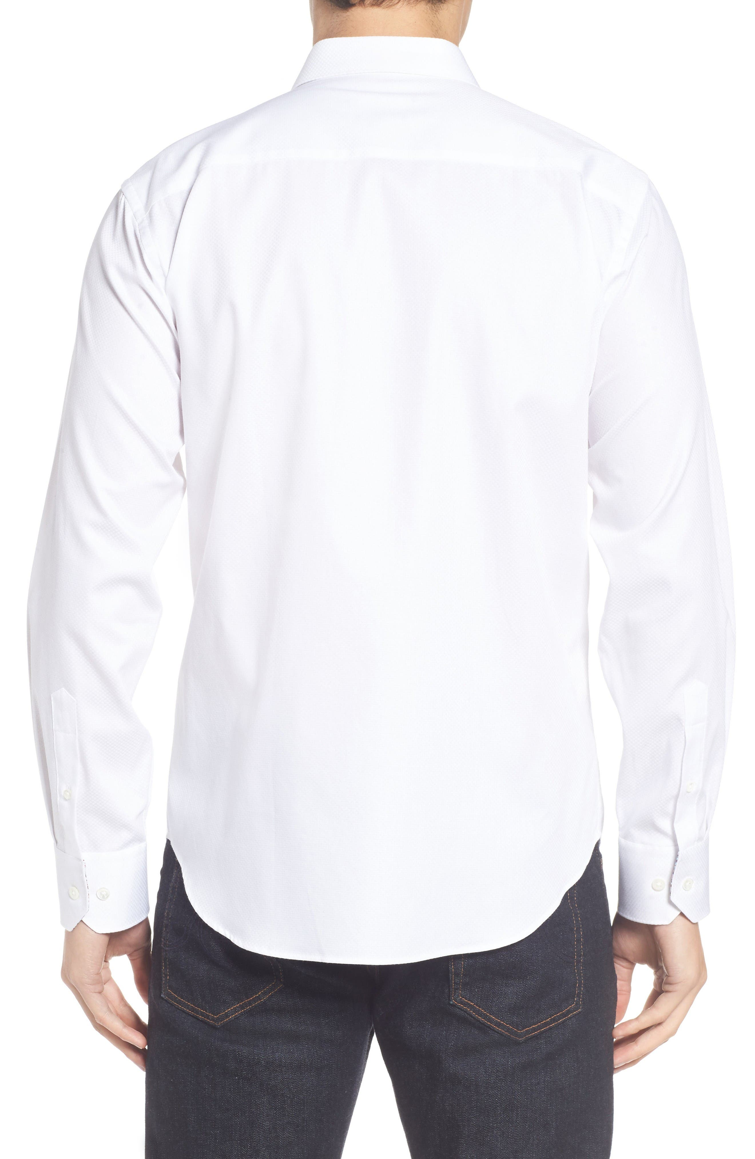 Alternate Image 2  - Bugatchi Shaped Fit Textured Sport Shirt
