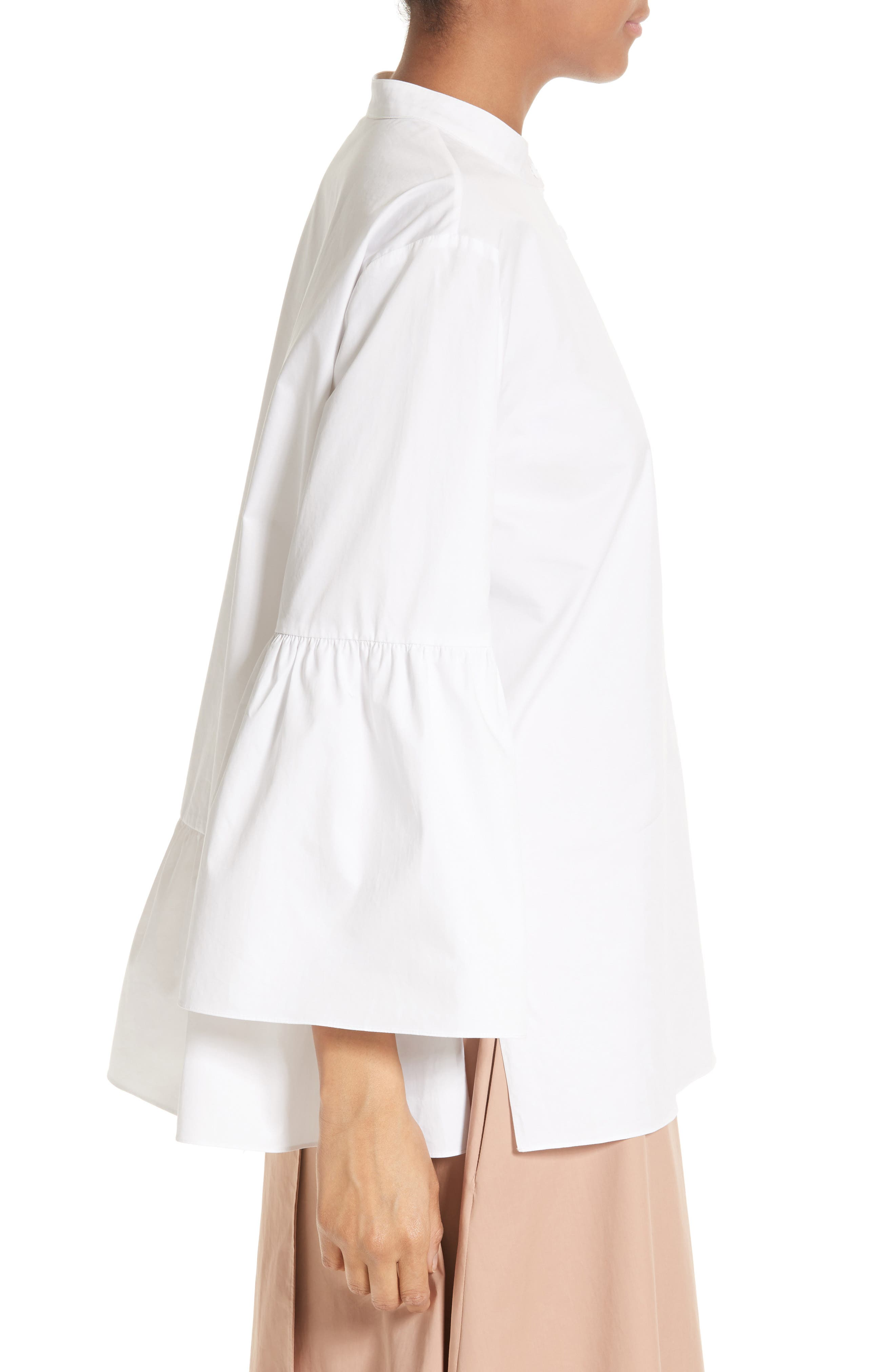 Shirred Satin Poplin Shirt,                             Alternate thumbnail 4, color,                             White