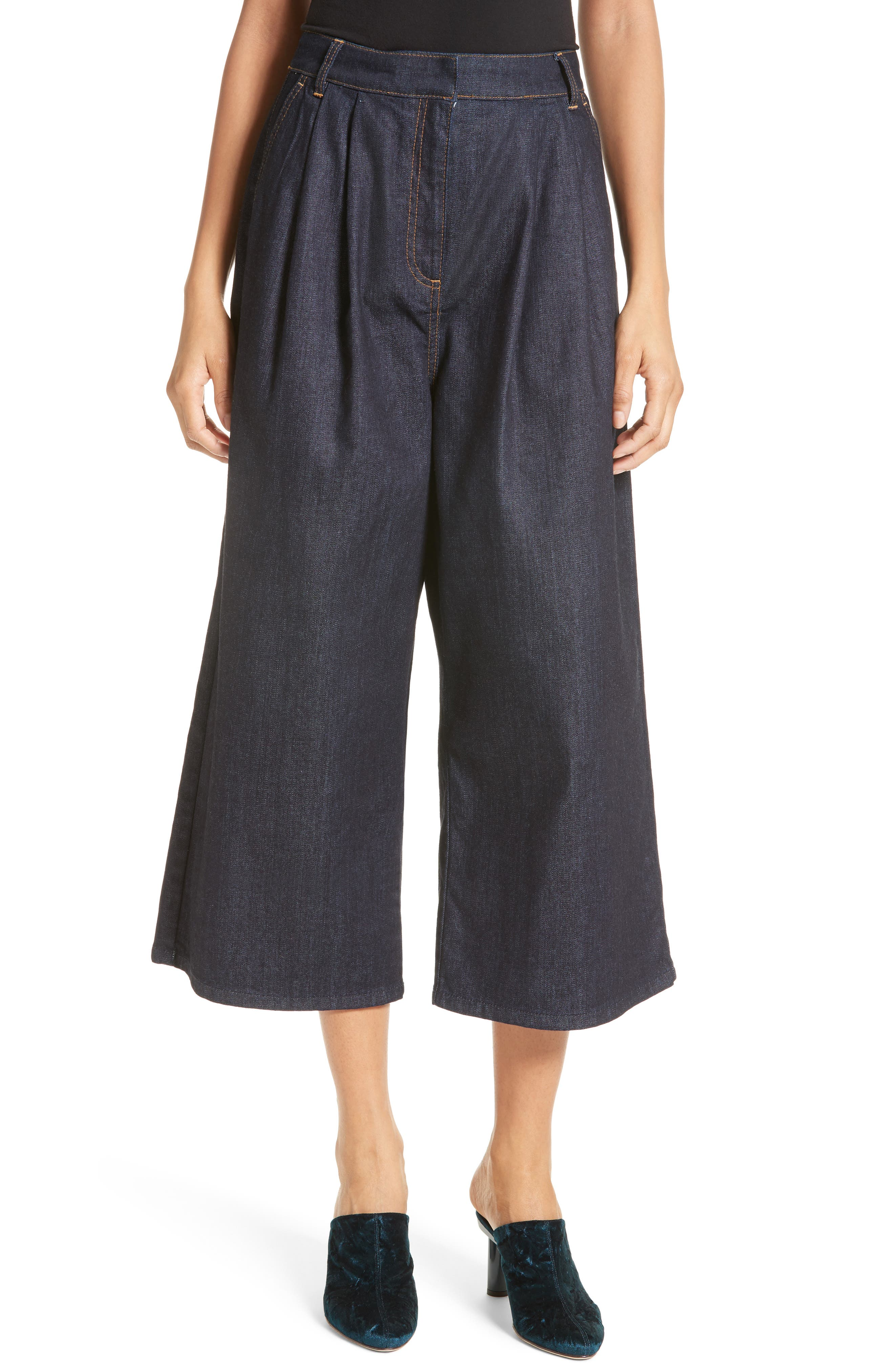 Sam High Waist Culotte Jeans,                         Main,                         color, Dark Denim
