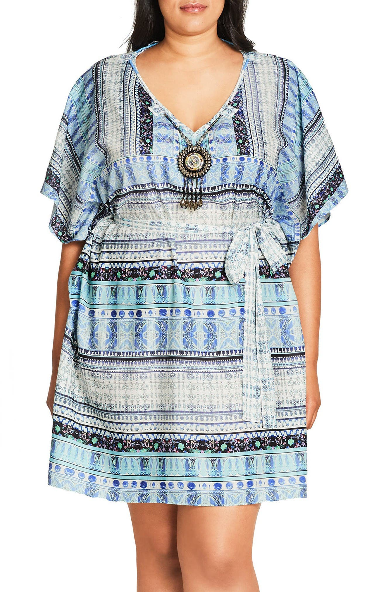 City Chic 'Moroccan Affair' Embellished Print Tunic (Plus Size)