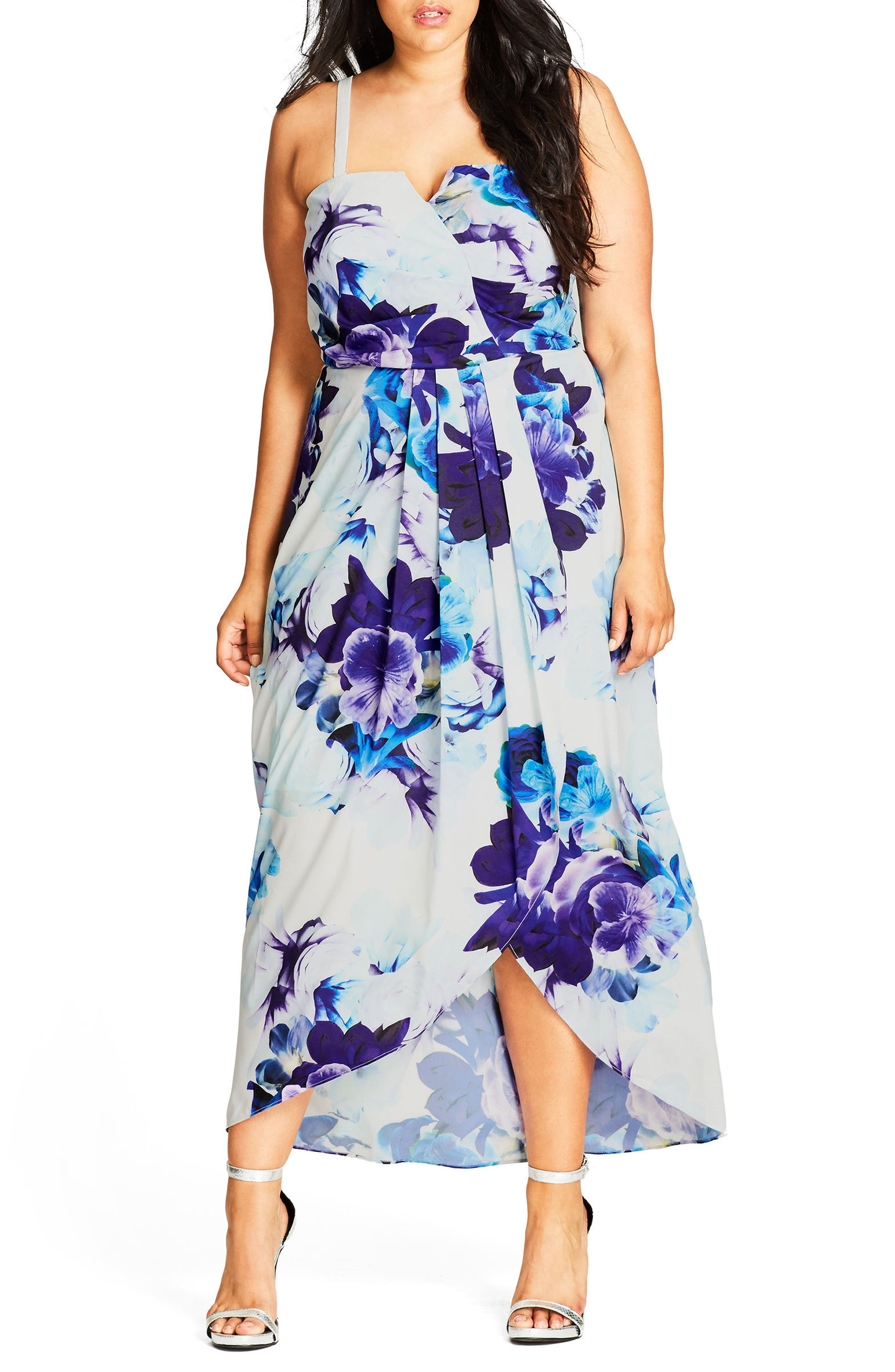 Alternate Image 1 Selected - City Chic Blue Bloom High/Low Maxi Dress (Plus Size)