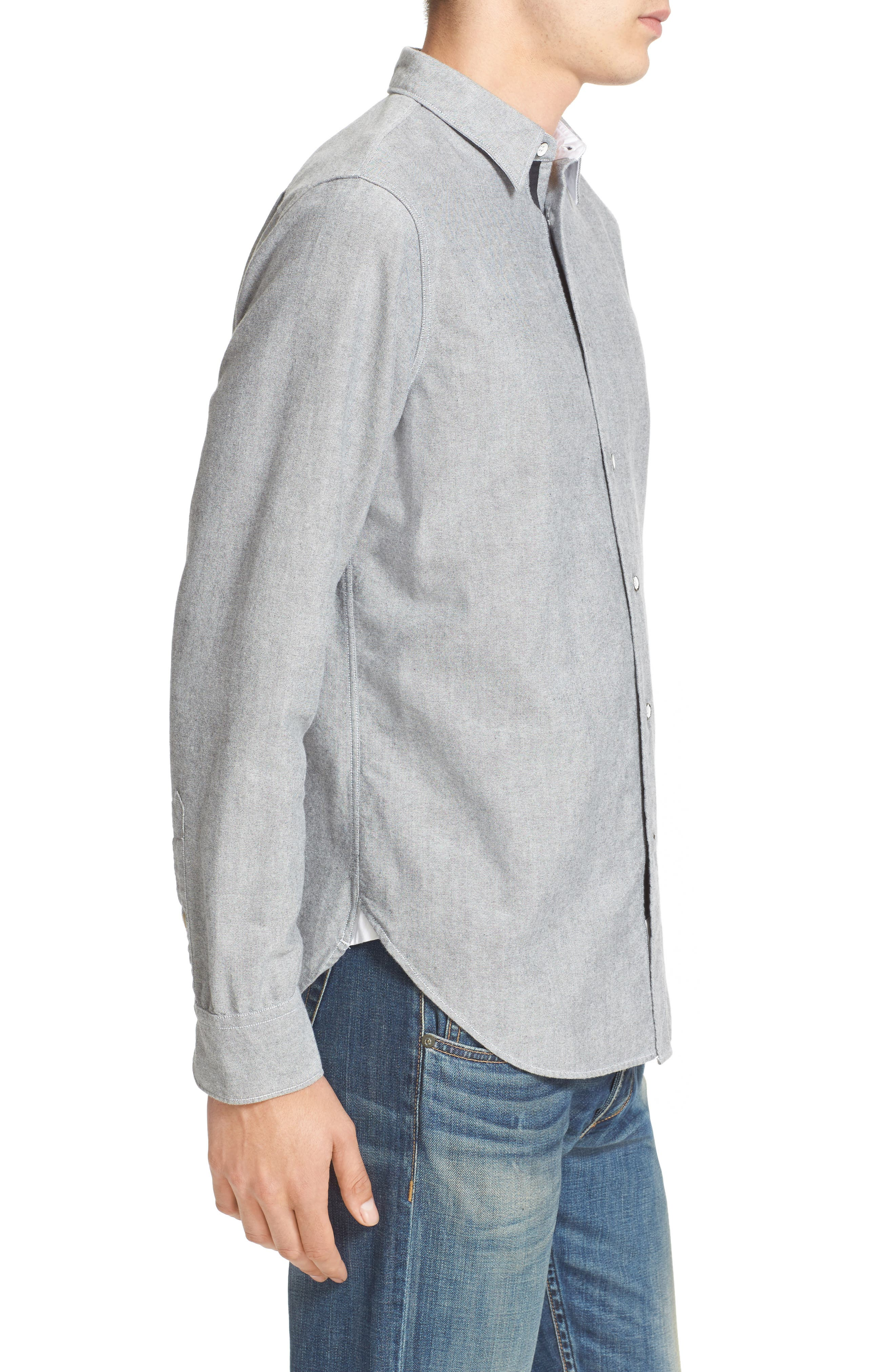 Beach Trim Fit Oxford Sport Shirt,                             Alternate thumbnail 3, color,                             Grey