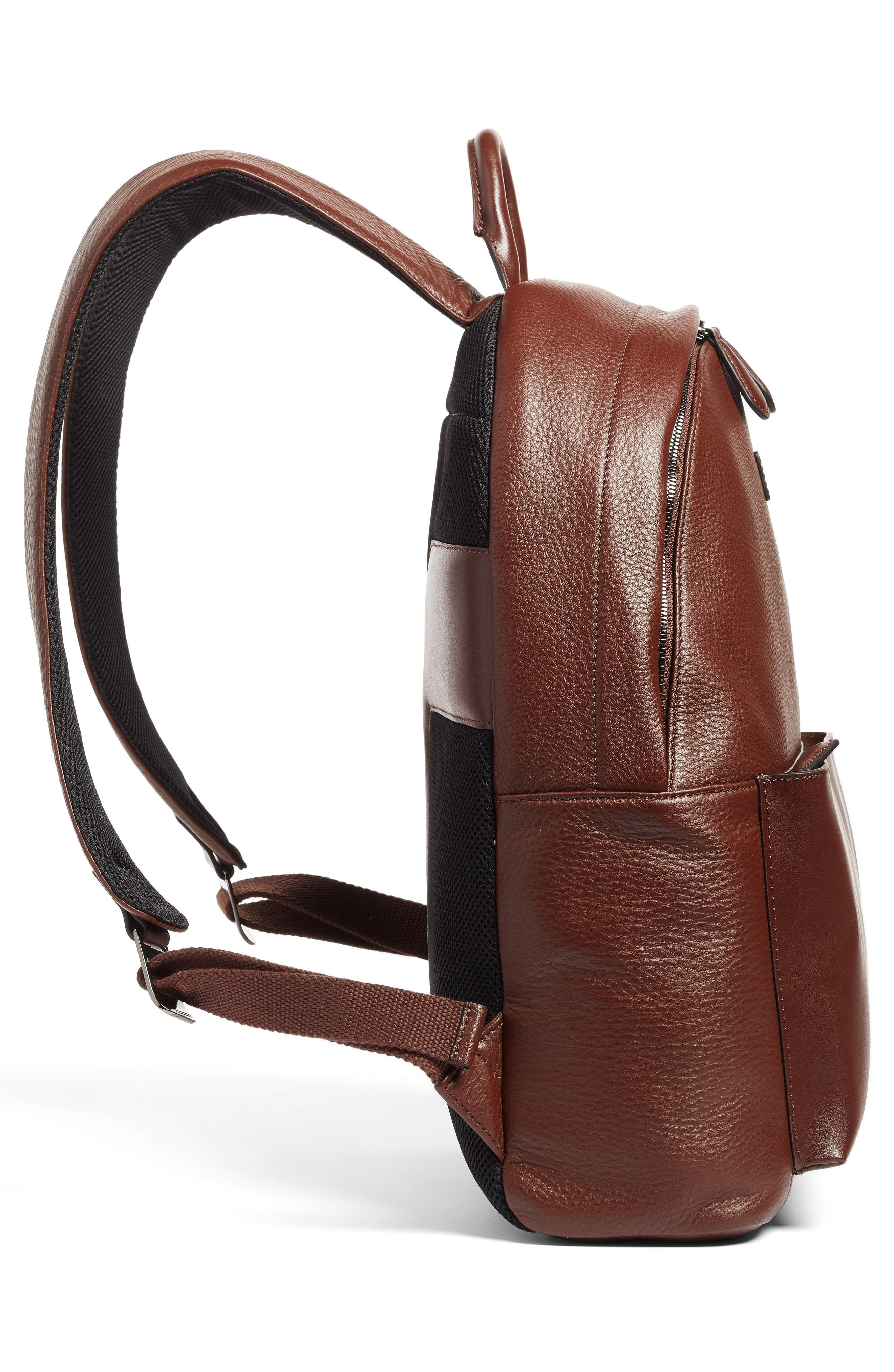 Leather Backpack,                             Alternate thumbnail 5, color,                             Tan