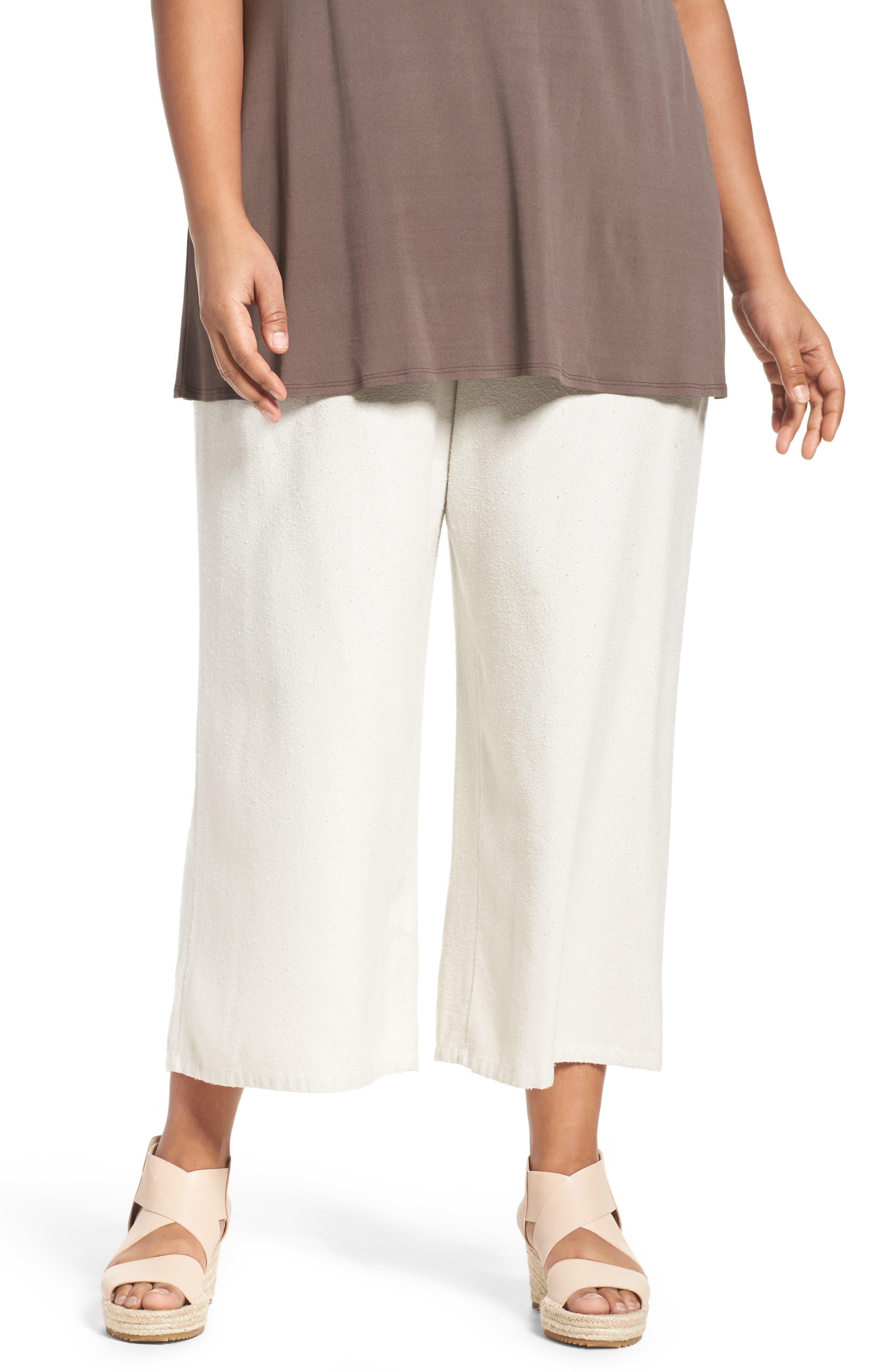 Silk Noil Wide Leg Pants,                             Main thumbnail 1, color,                             Bone
