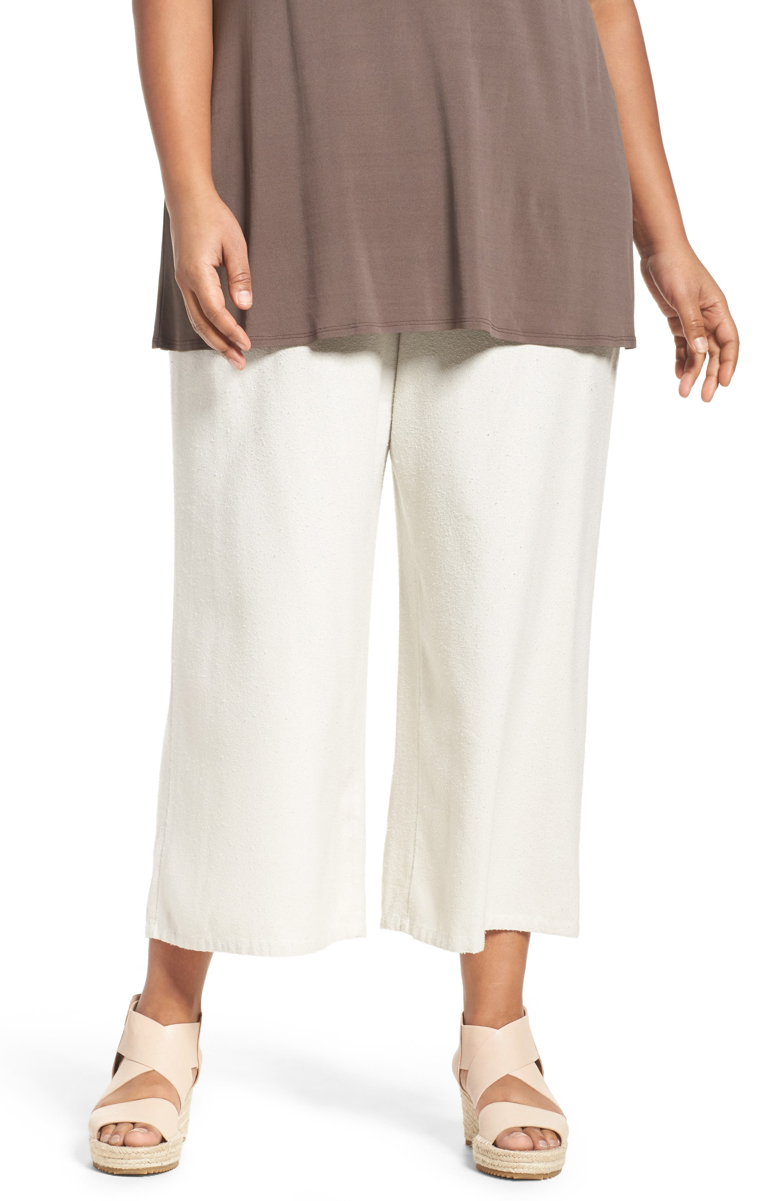 Silk Noil Wide Leg Pants,                         Main,                         color, Bone