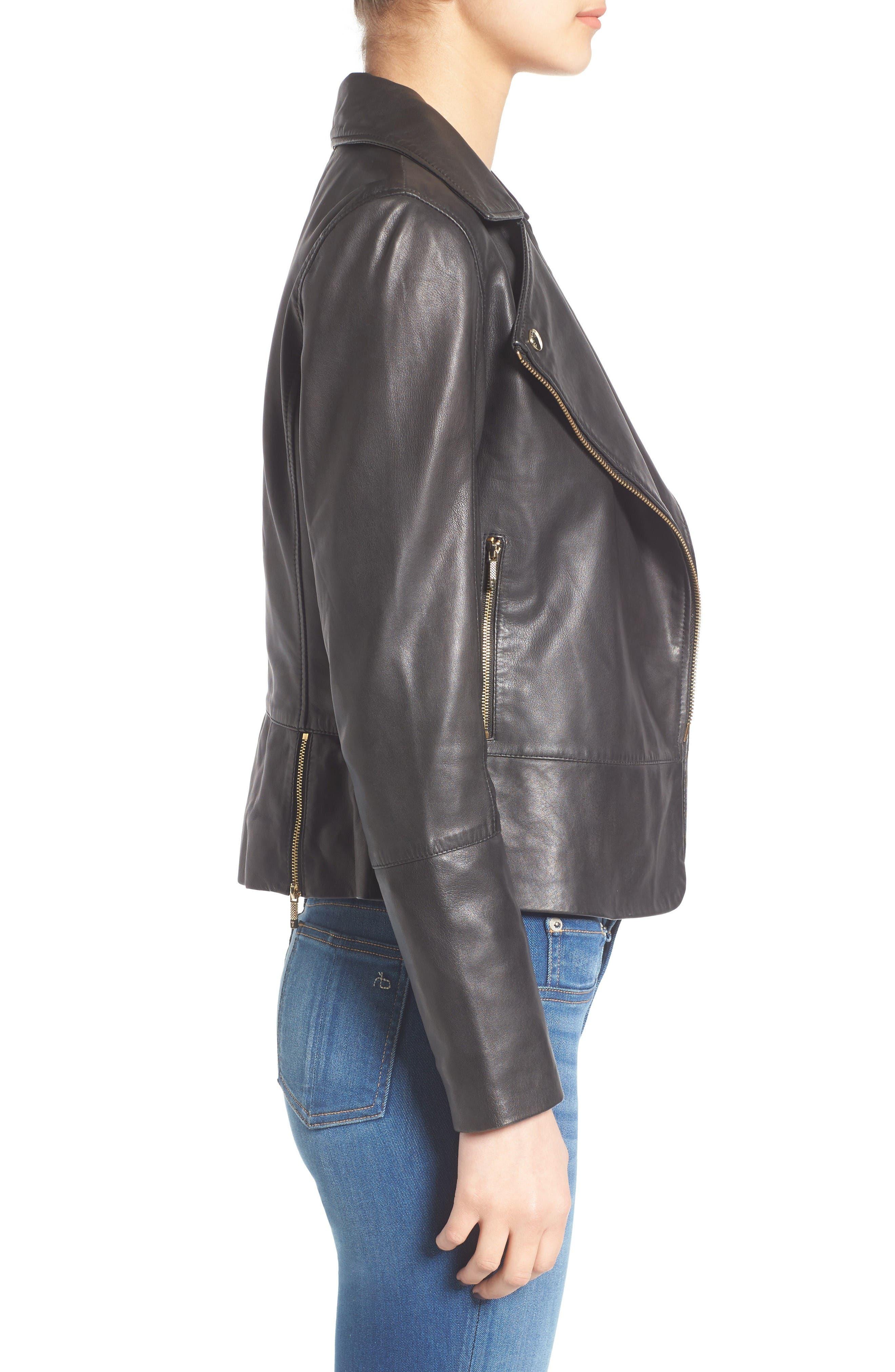 Alternate Image 3  - Ted Baker London Minimal Leather Biker Jacket