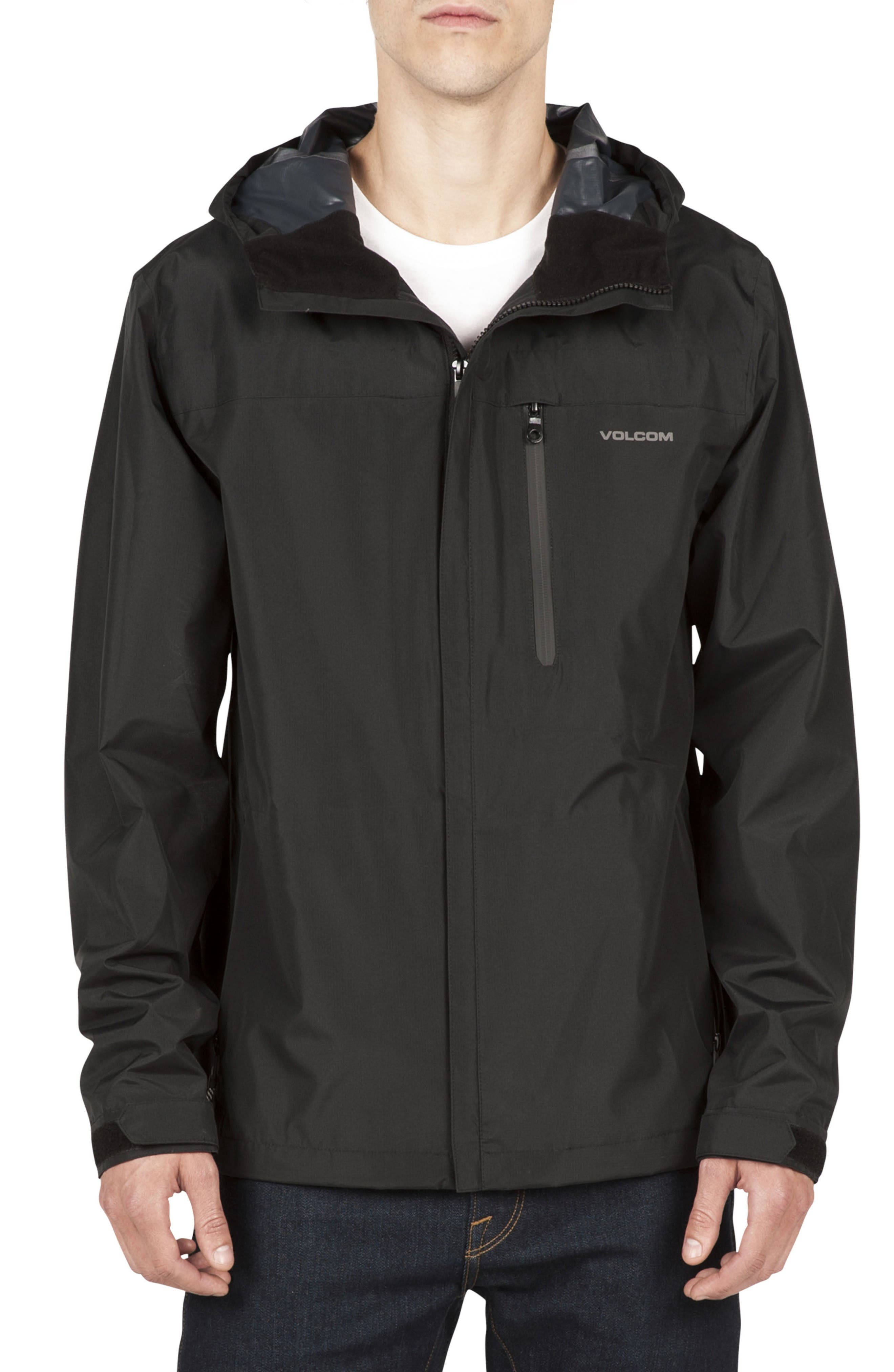 Water Resistant Zip Jacket,                             Main thumbnail 1, color,                             Black