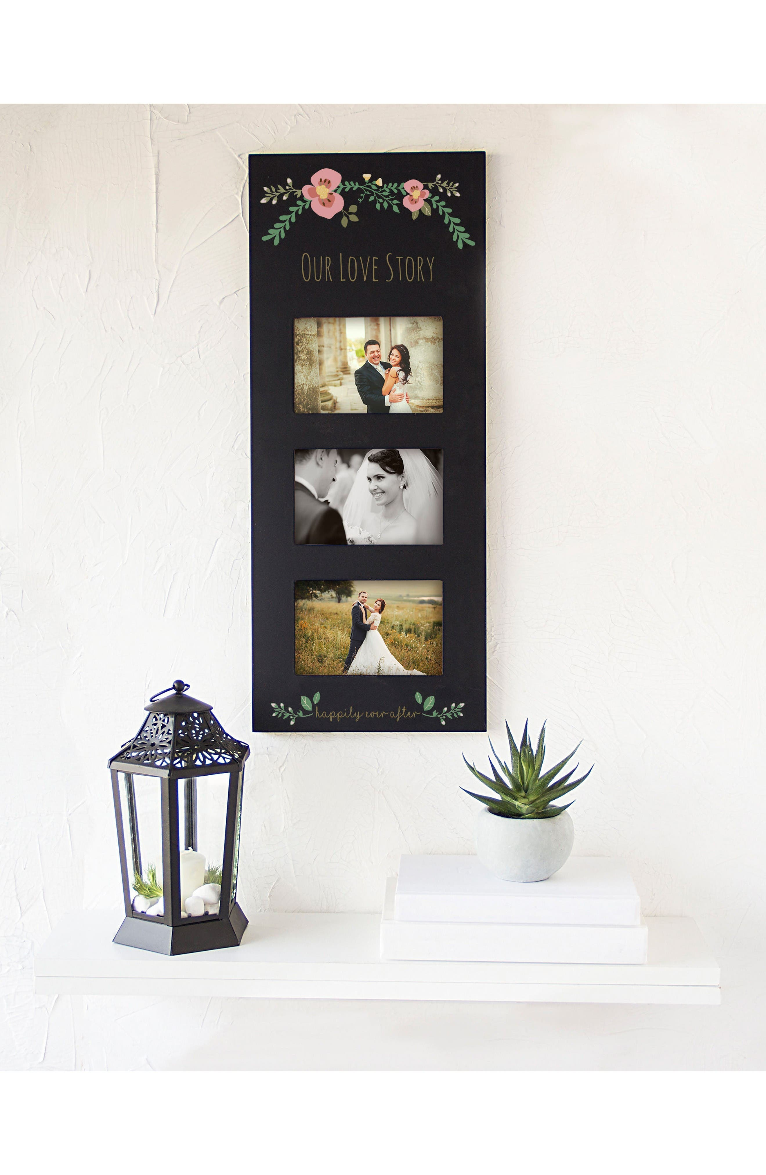 Floral Love Story 3-Window Picture Frame,                             Alternate thumbnail 2, color,                             Black