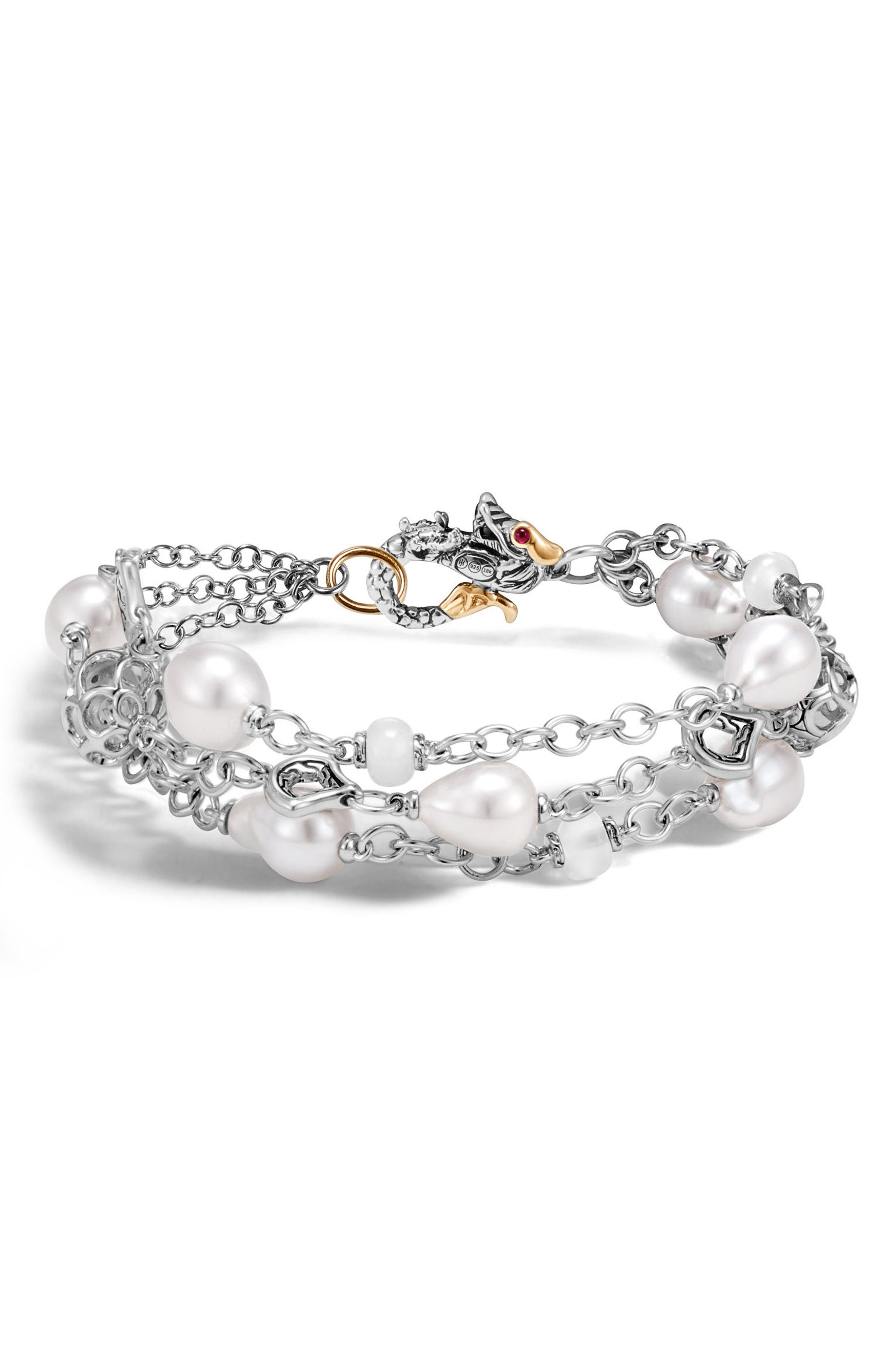 Legends Pearl Bracelet,                             Main thumbnail 1, color,                             Silver/ Gold/ Pearl