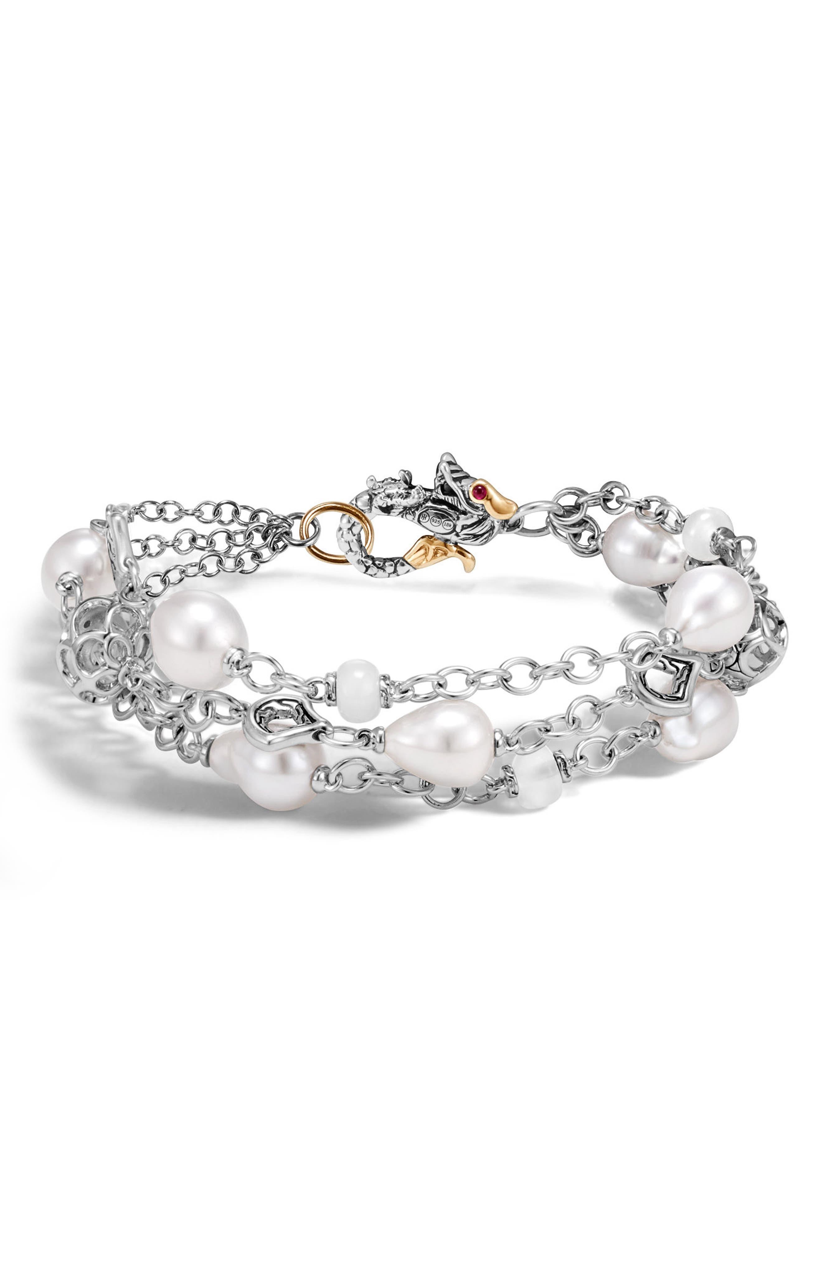 Legends Pearl Bracelet,                         Main,                         color, Silver/ Gold/ Pearl