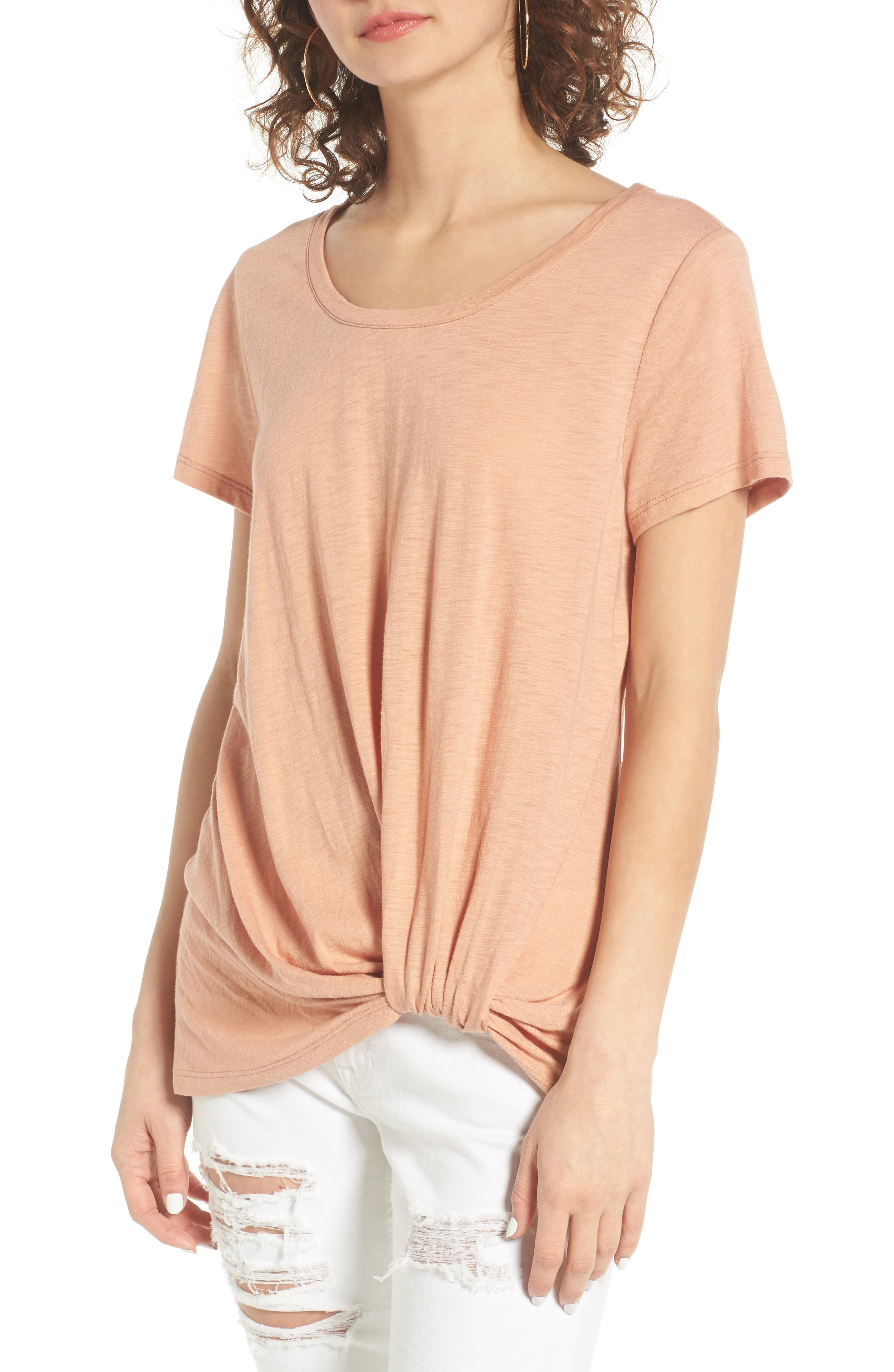 Twist Front Tee,                         Main,                         color, Tan Cork