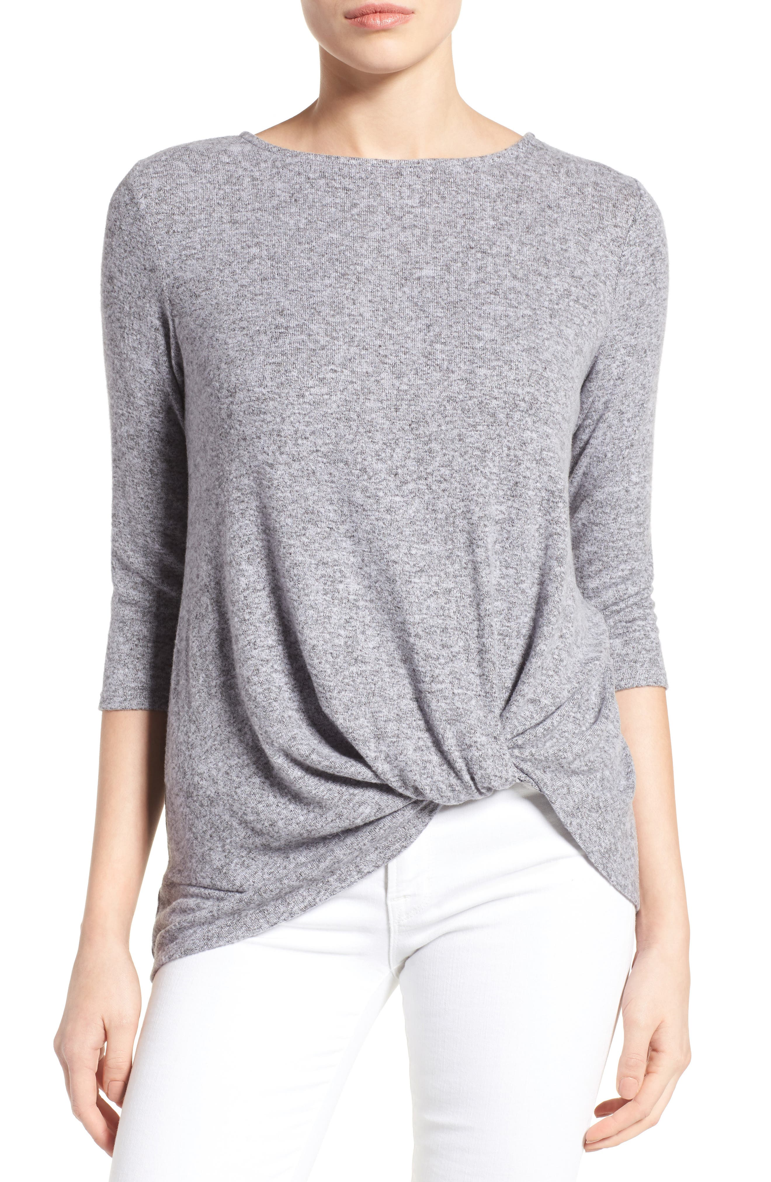 Cozy Twist Front Pullover,                         Main,                         color, Lavender