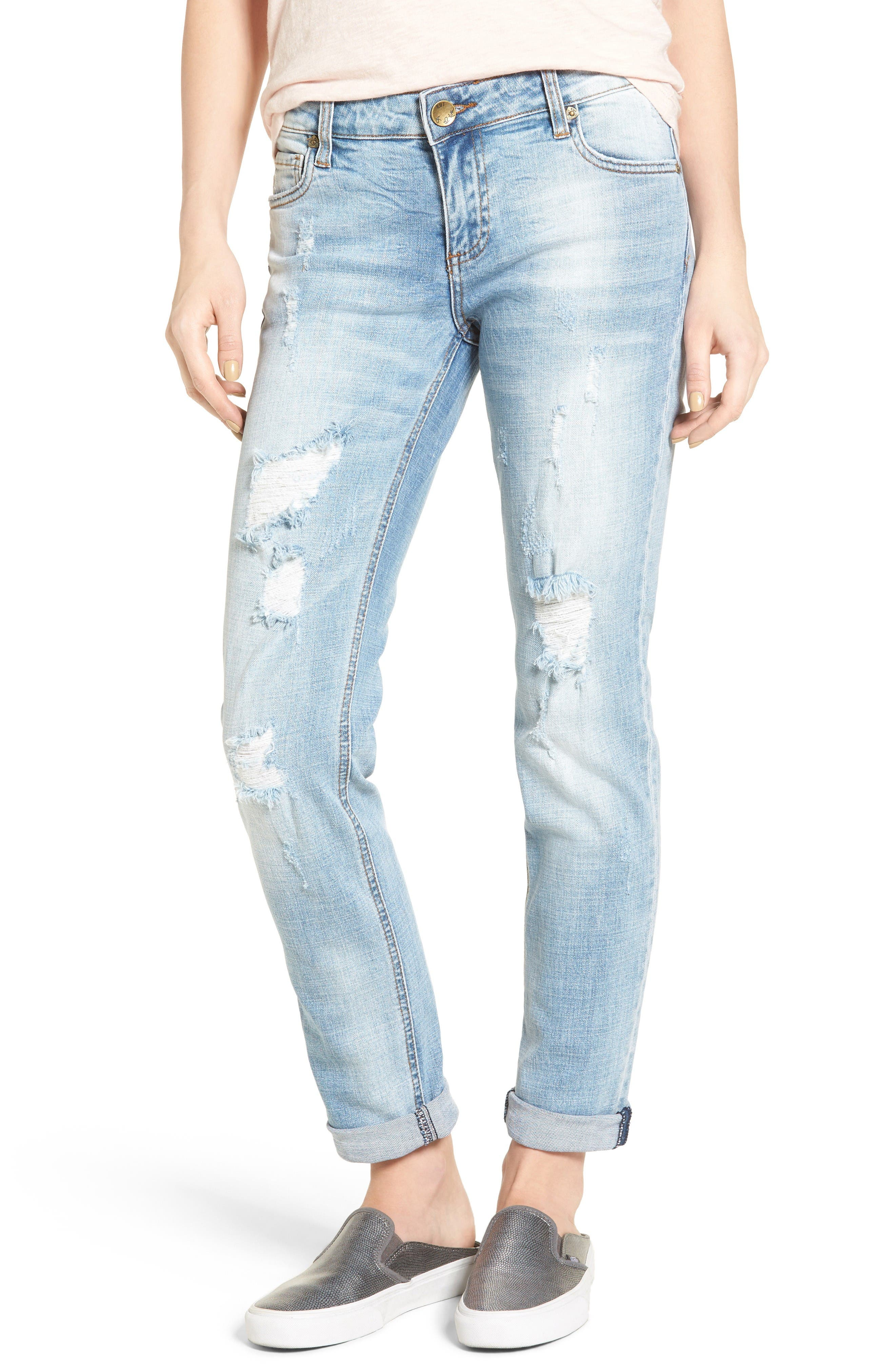 Main Image - KUT from the Kloth Catherine Distressed Boyfriend Jeans (Hail)