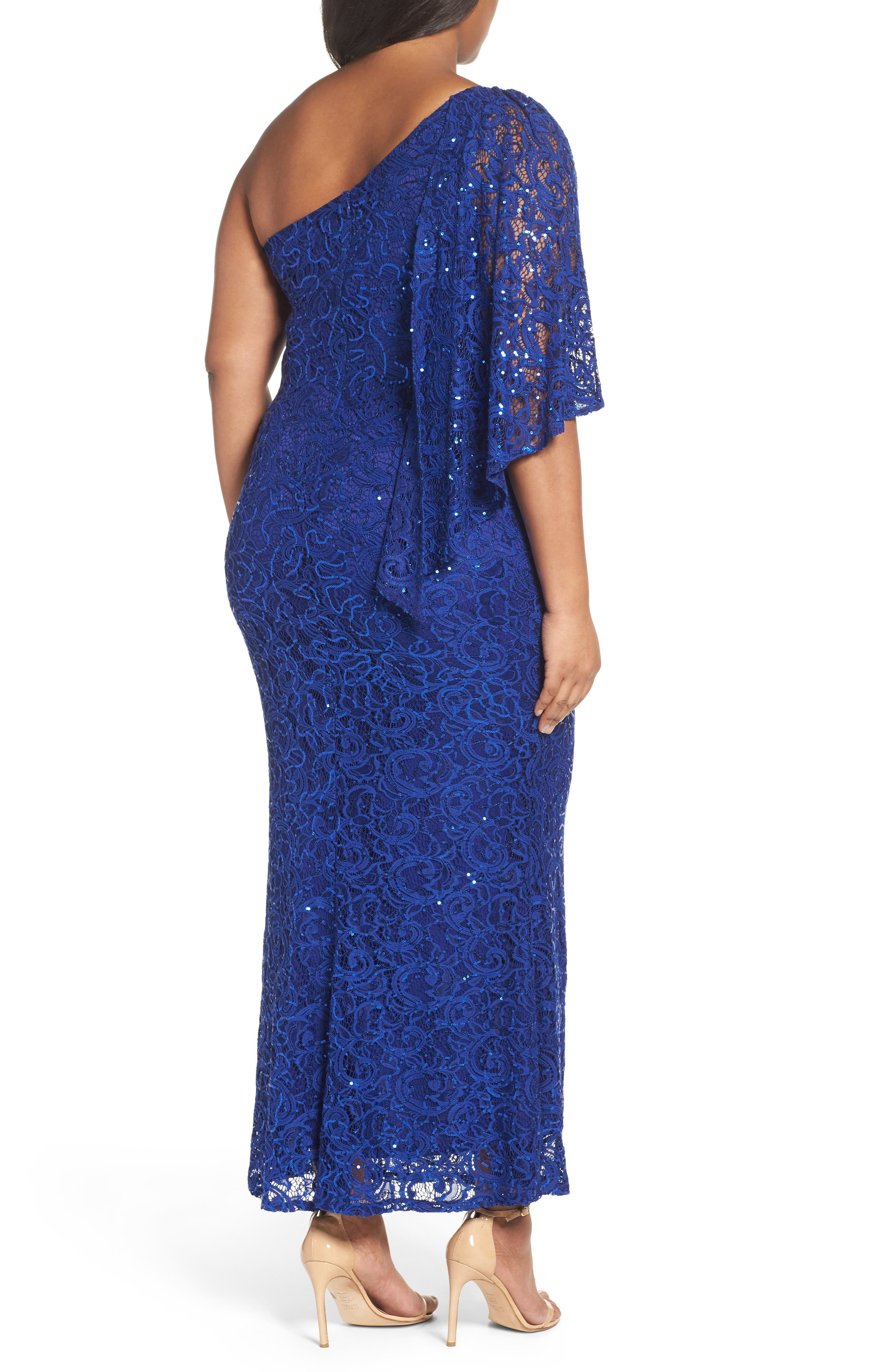 Alternate Image 2  - Marina Sequin Lace One-Shoulder Gown (Plus Size)