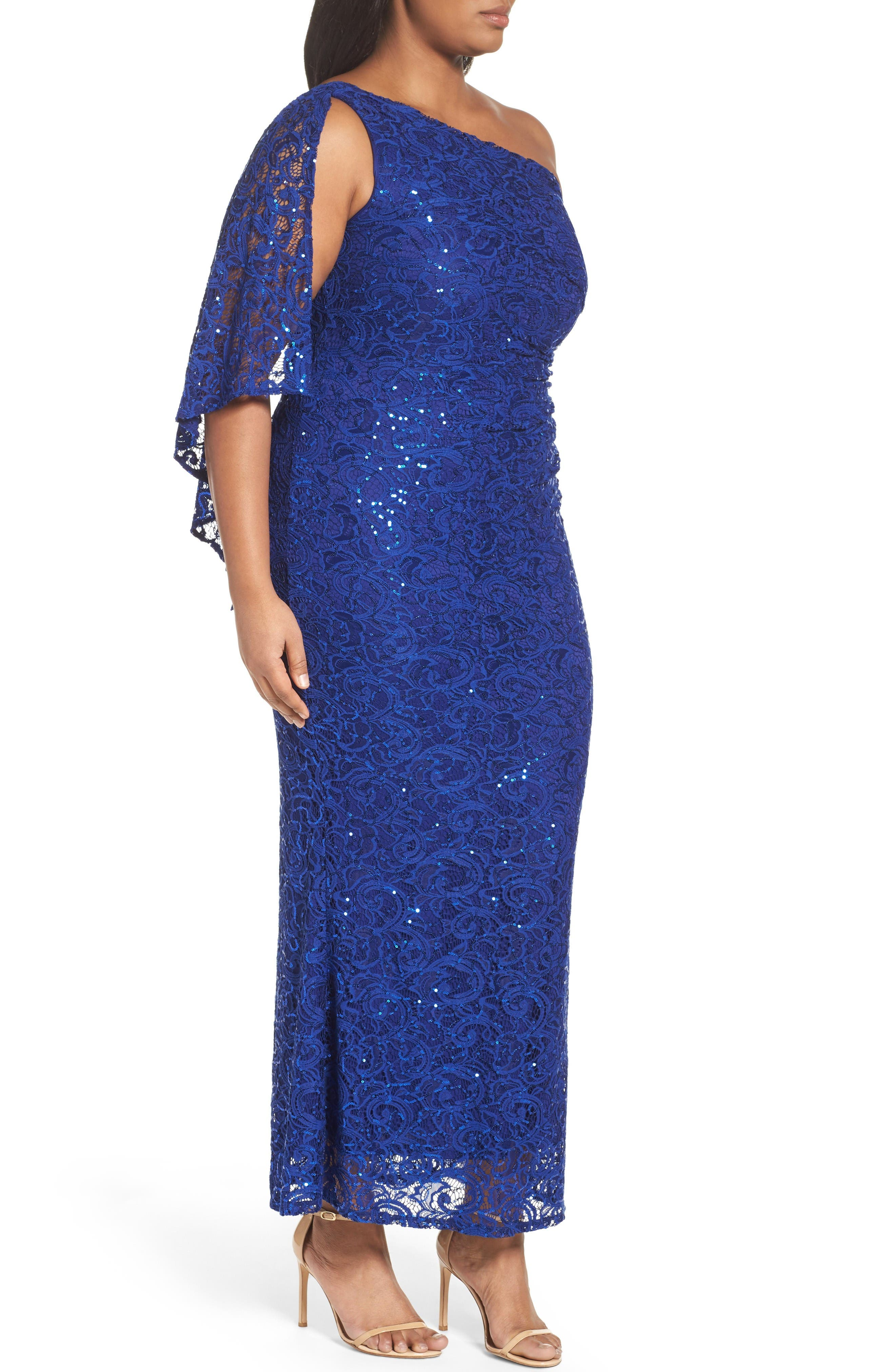 Alternate Image 3  - Marina Sequin Lace One-Shoulder Gown (Plus Size)